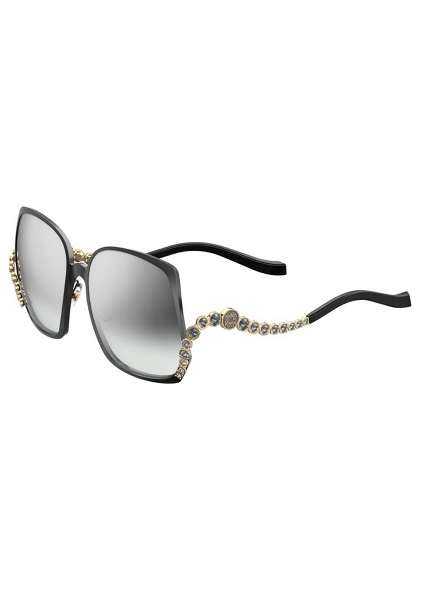 Image 1 of 1: Square Titanium Sunglasses w/ Crystal Wave Arms