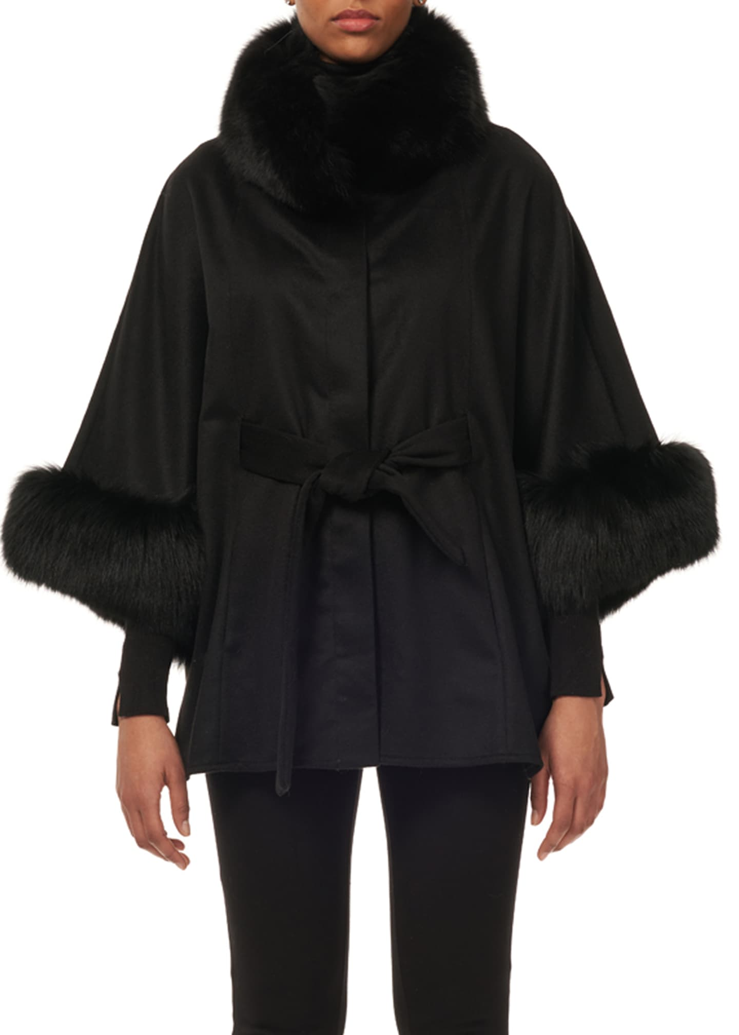 Gorski Cashmere Belted Cape w/ Fur Collar &