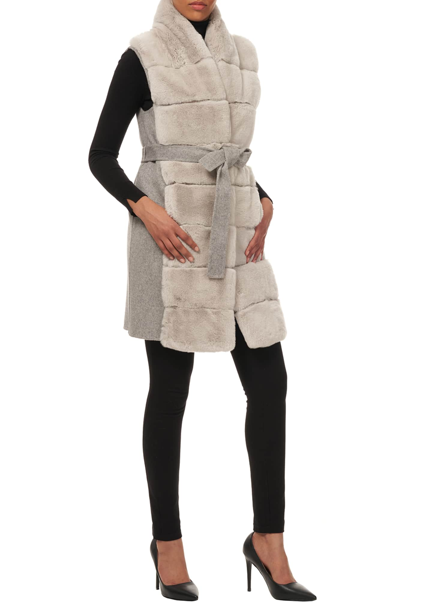 Image 3 of 4: Belted Reversible Rabbit Fur Vest w/ Wool Back