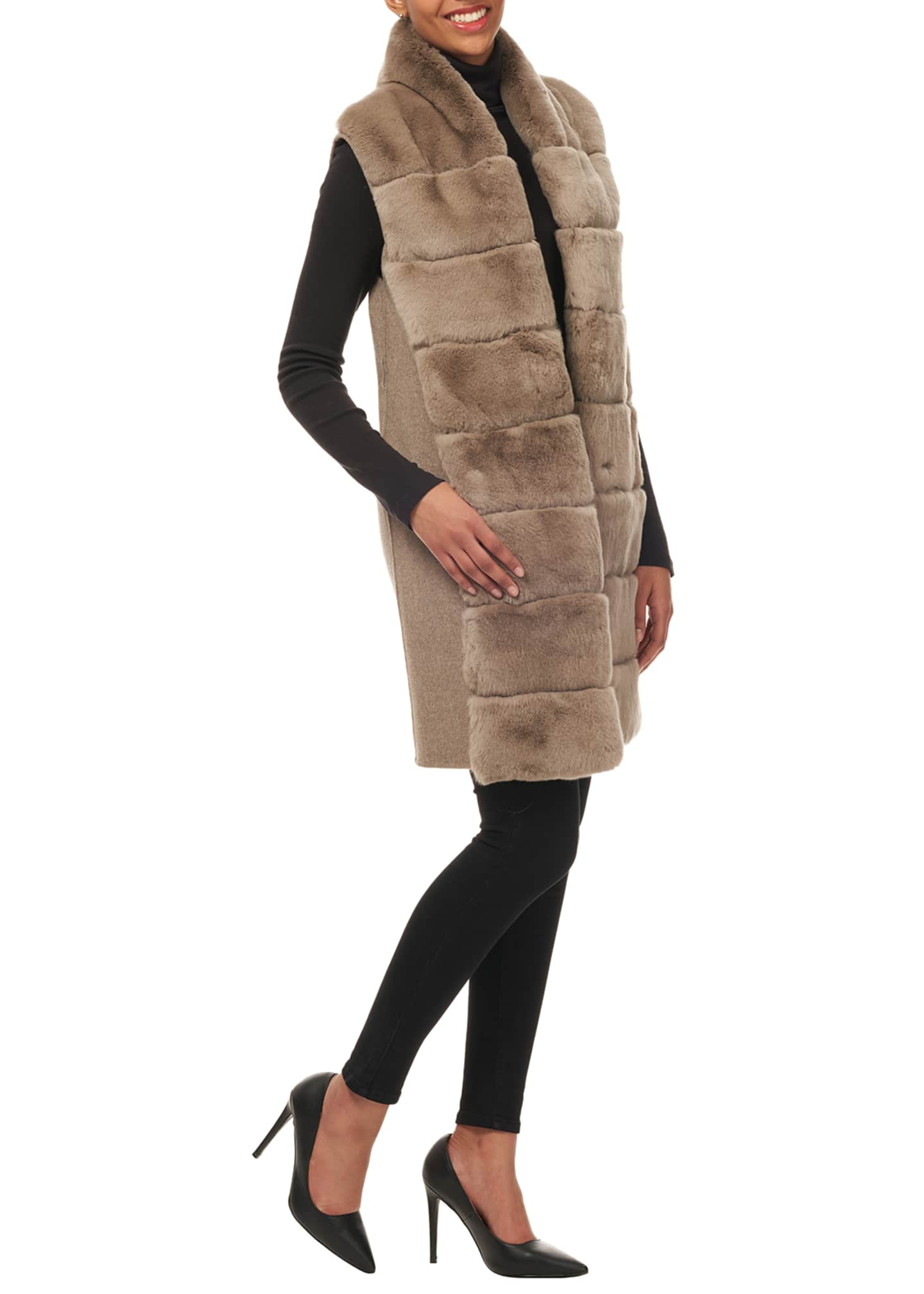 Image 4 of 4: Belted Reversible Rabbit Fur Vest w/ Wool Back