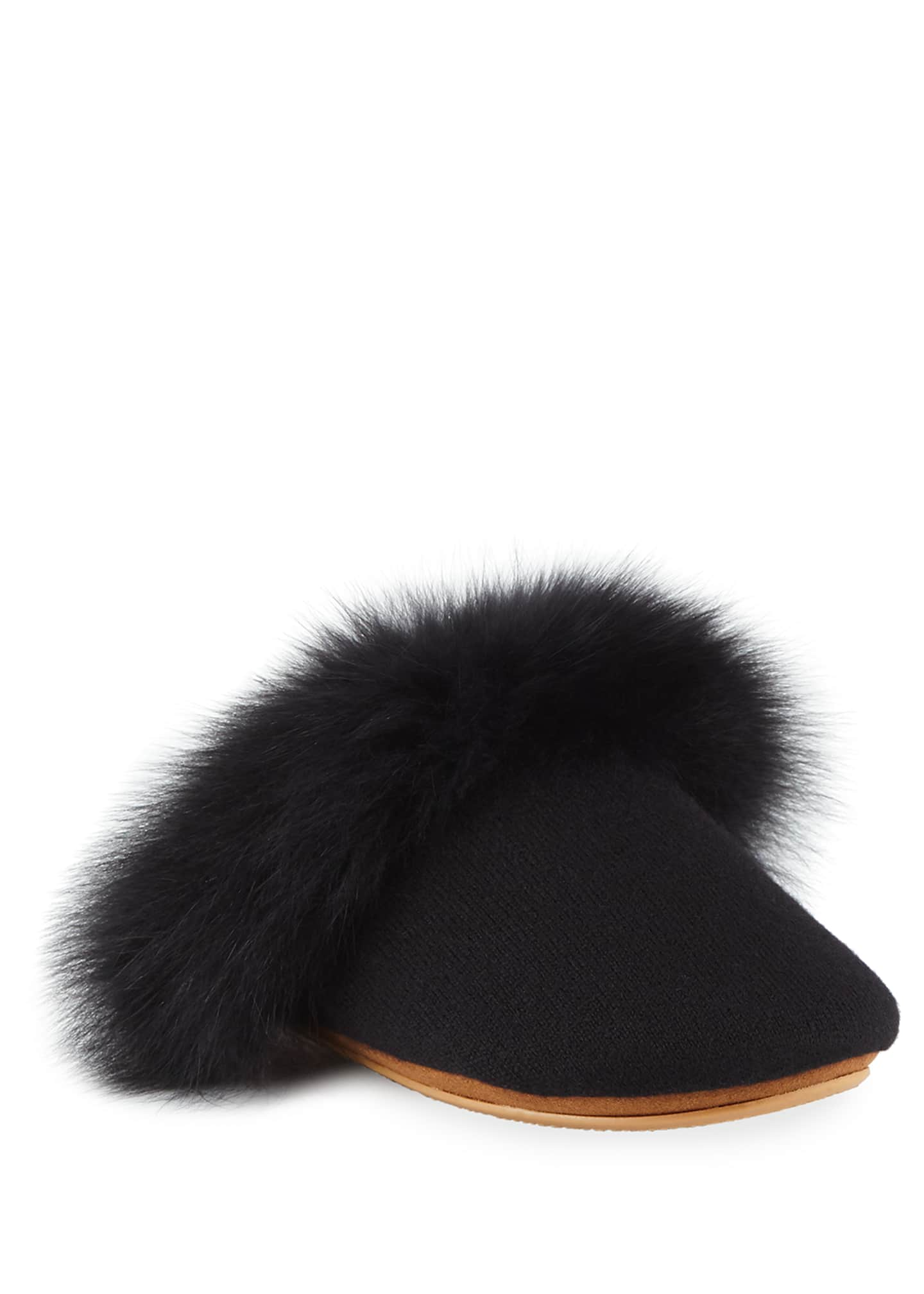 Neiman Marcus Cashmere Collection Cashmere Fox Fur-Trim Slippers