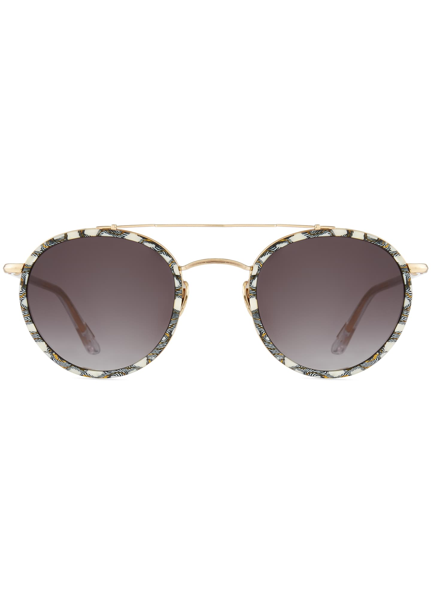 Image 2 of 3: Poydras Round Acetate & Metal Sunglasses