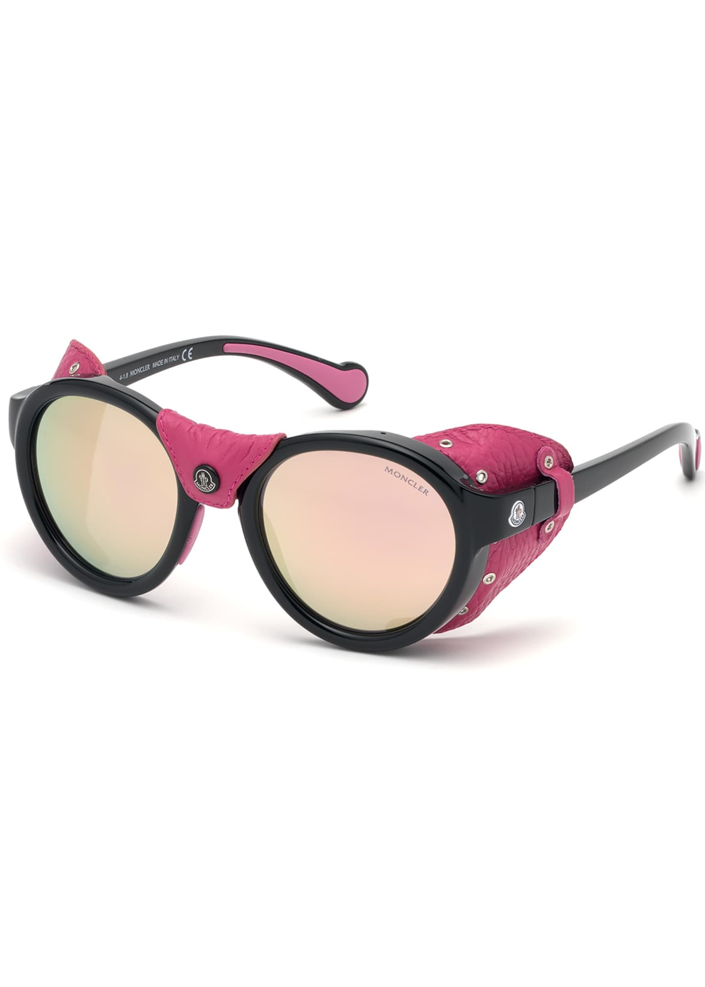 Image 1 of 1: Round Mirrored Sunglasses w/ Metallic Leather Side Blinders