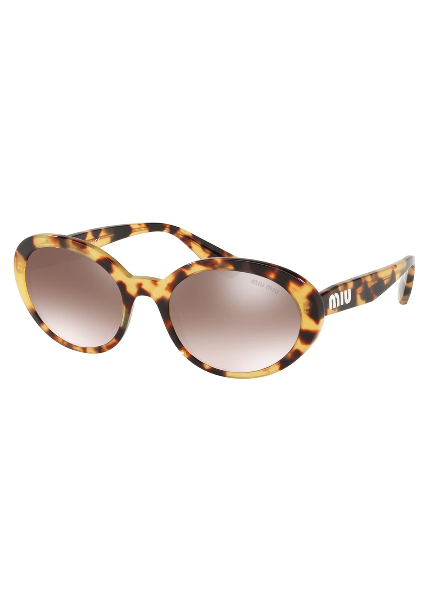 Miu Miu Mirrored Acetate Oval Sunglasses
