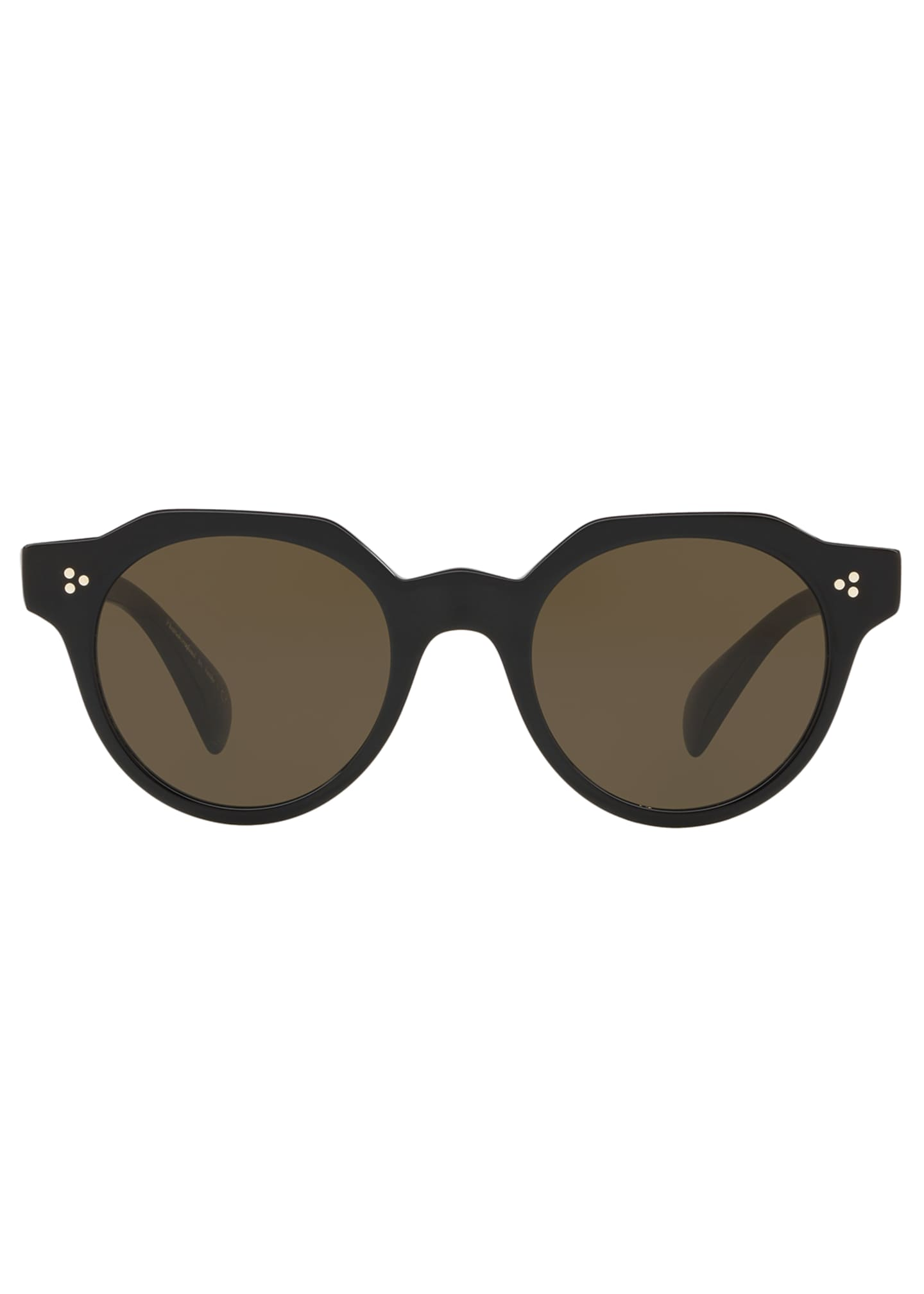 Image 2 of 2: Irven Faceted Round Acetate Sunglasses