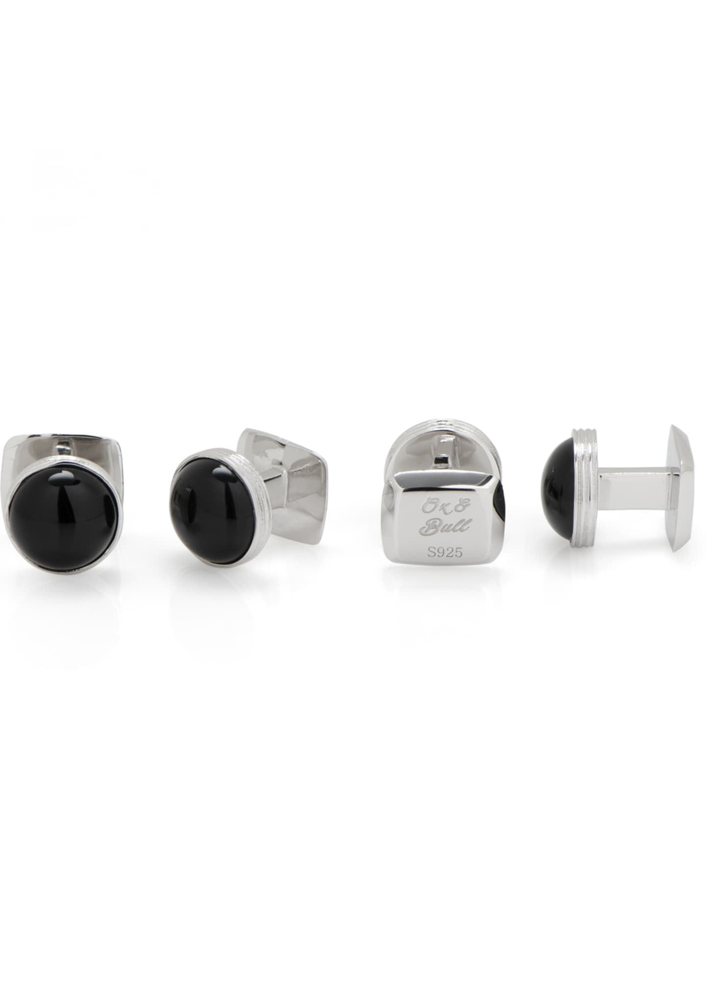 Image 3 of 4: Ribbed Onyx Sterling Silver Cuff Links & Stud Set