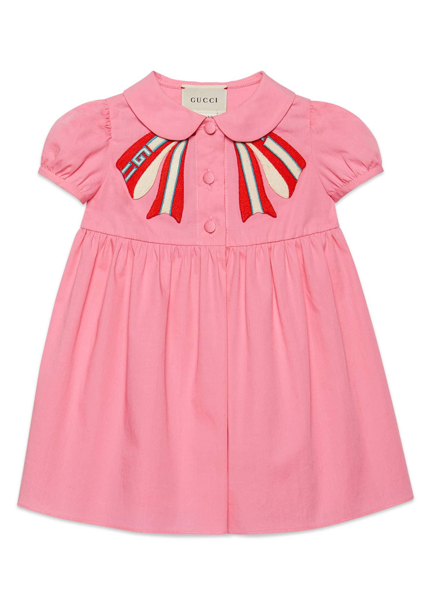 Gucci Peter Pan-Collar Dress w/ Logo Bow Applique,