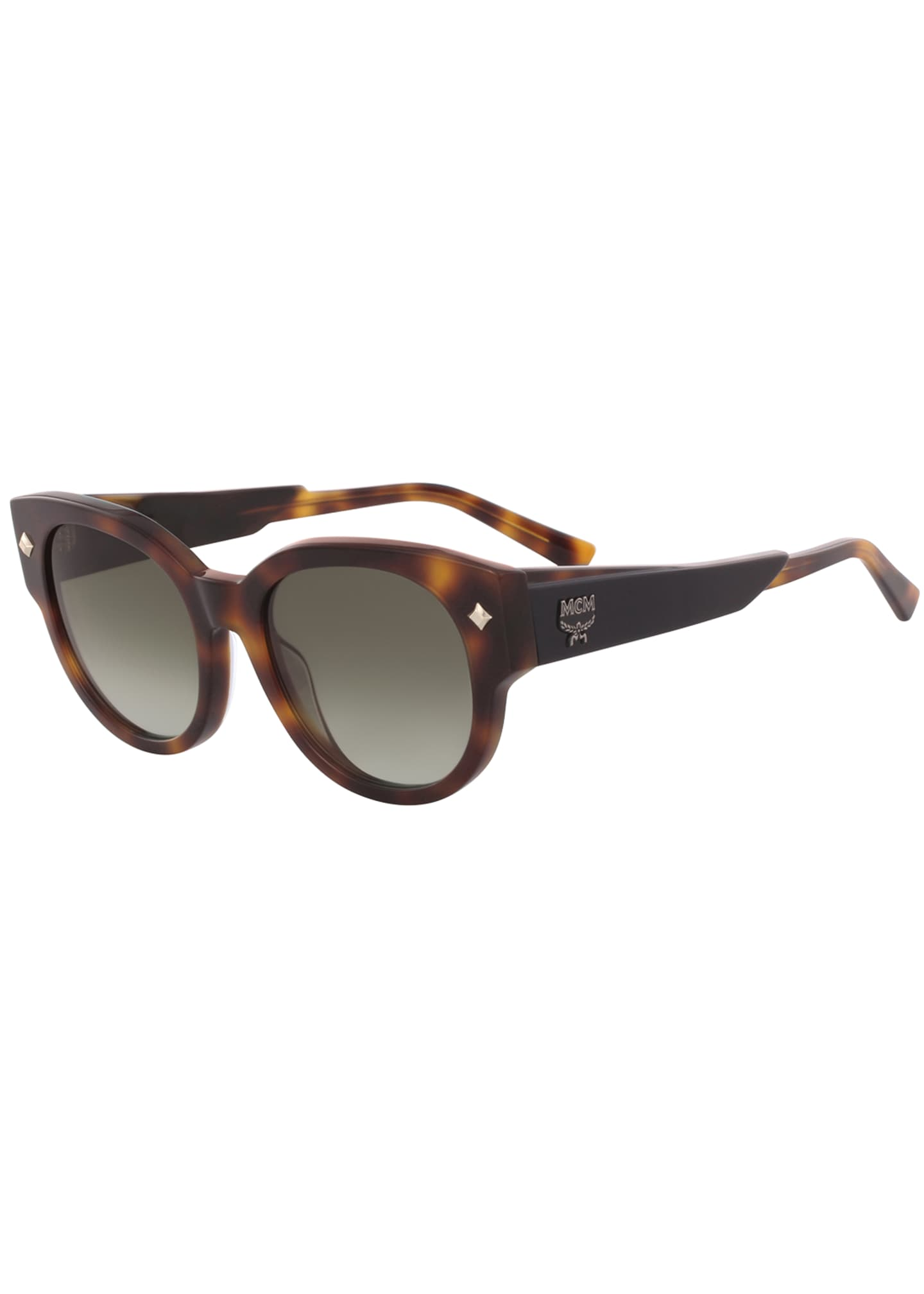 MCM Round Acetate Sunglasses w/ Leather Wrapped Arms
