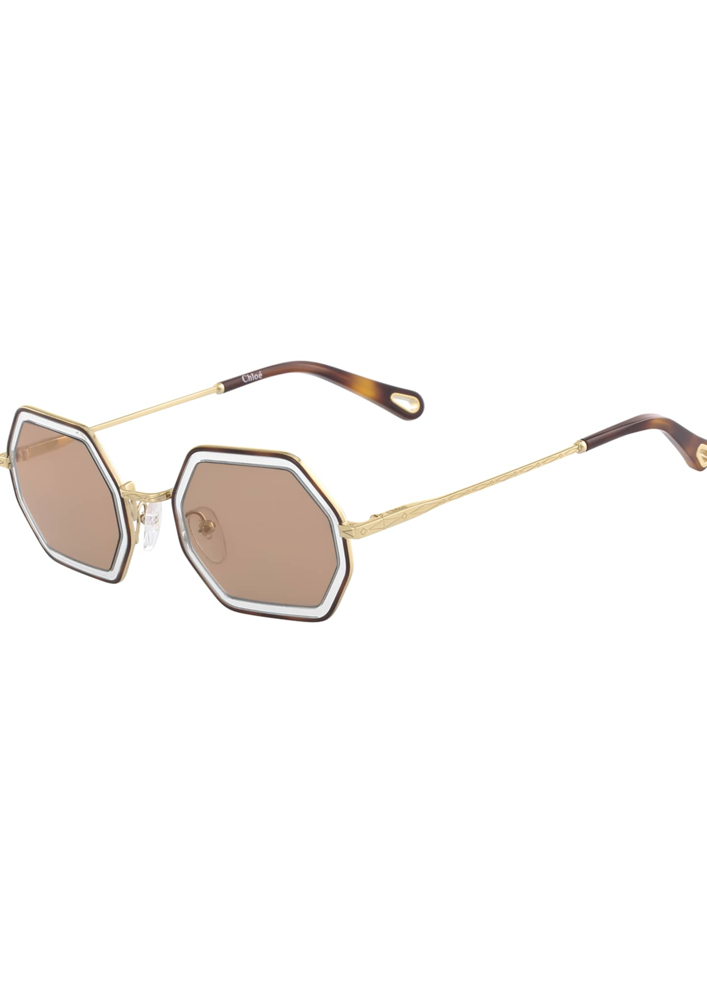 Chloe Tally Hexagonal Metal Sunglasses