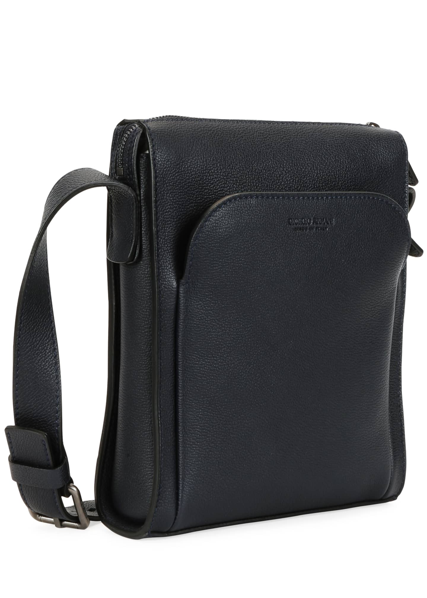 Image 2 of 4: Men's Tumbled Calf Leather Crossbody Bag