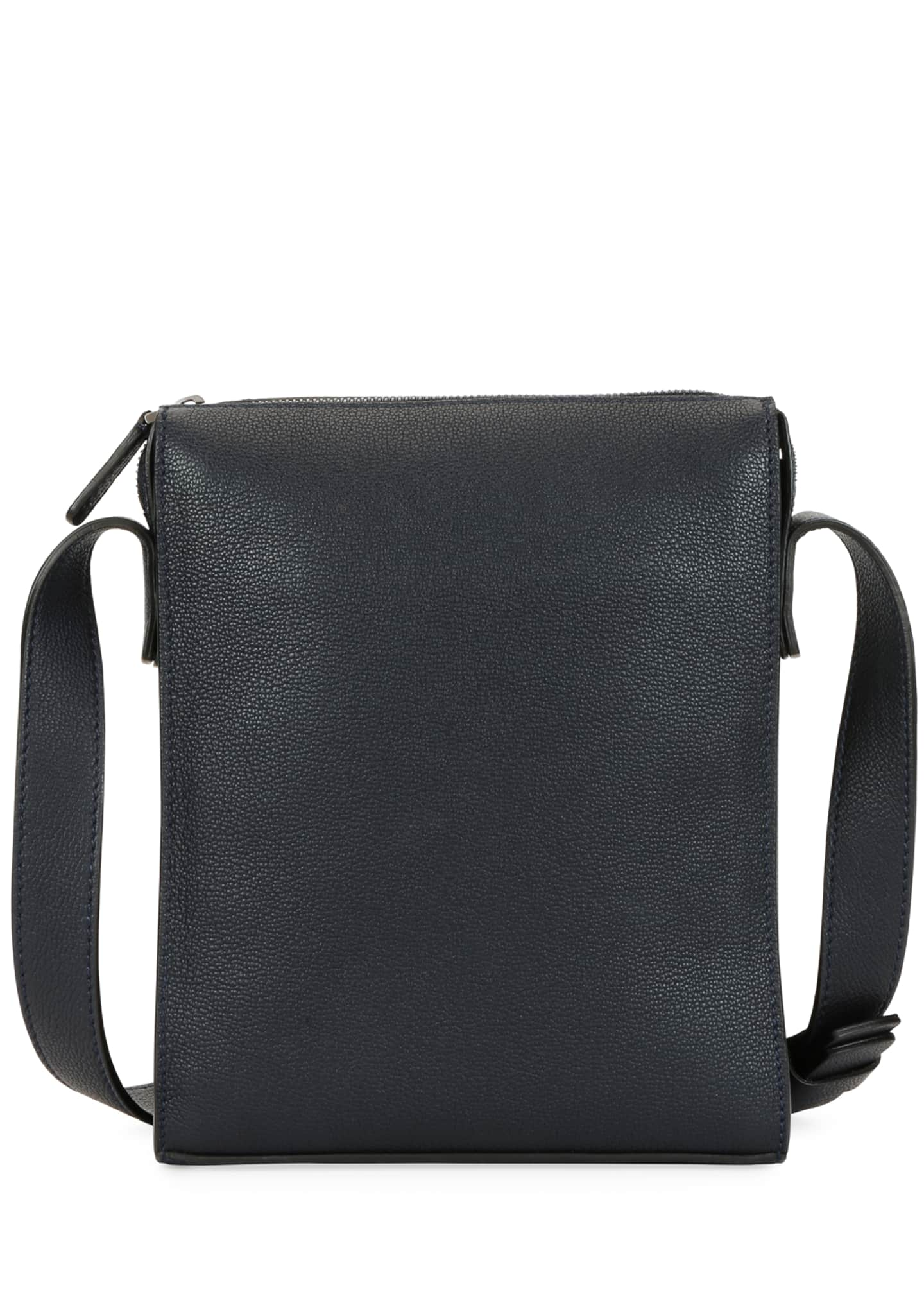 Image 3 of 4: Men's Tumbled Calf Leather Crossbody Bag