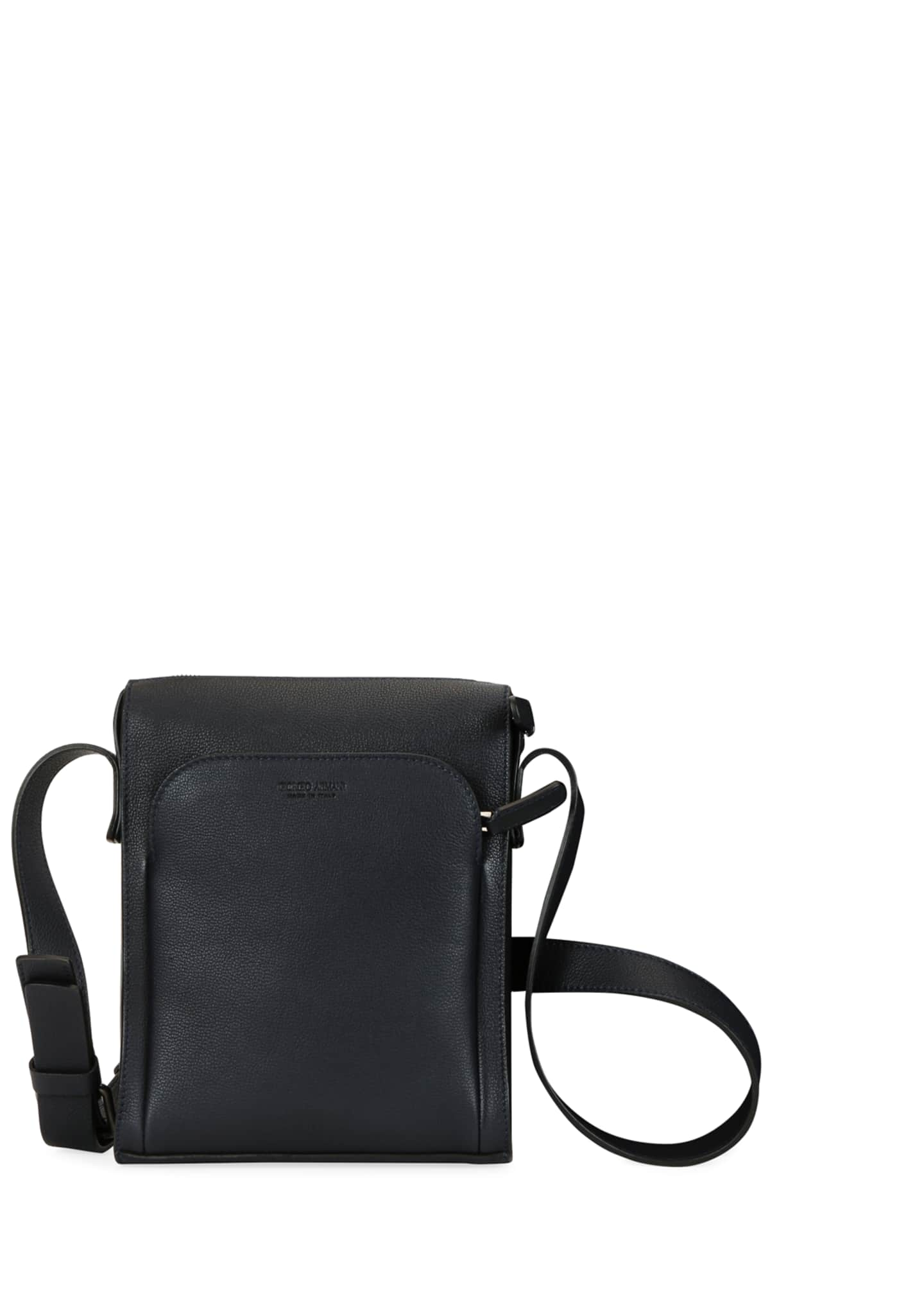 Image 4 of 4: Men's Tumbled Calf Leather Crossbody Bag