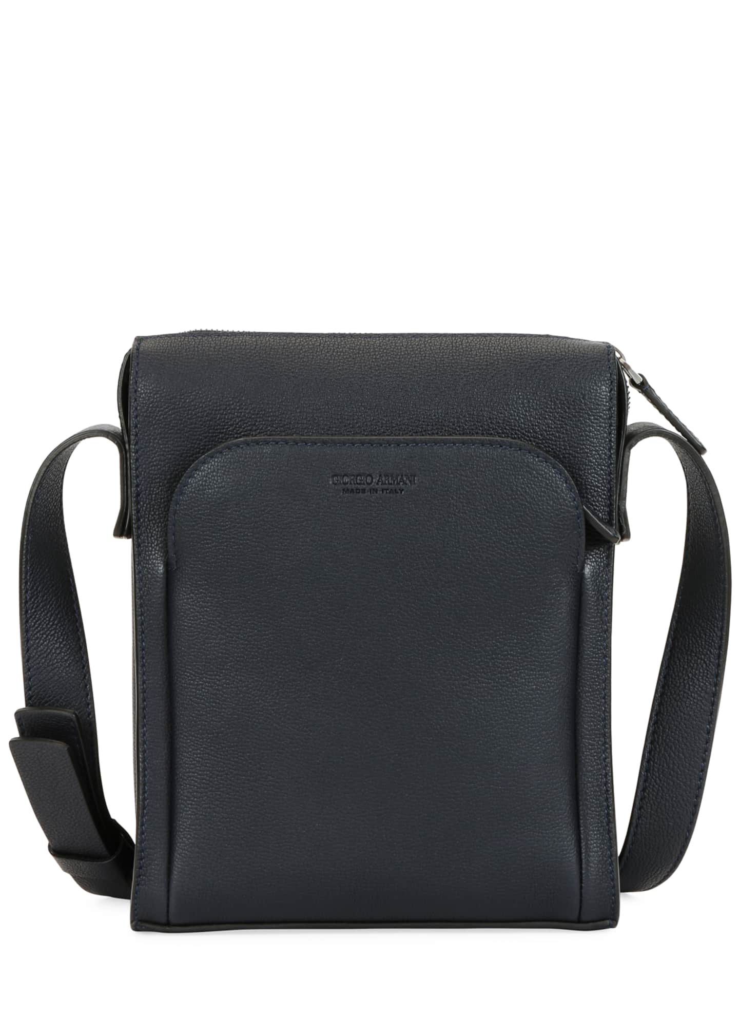 Image 1 of 4: Men's Tumbled Calf Leather Crossbody Bag
