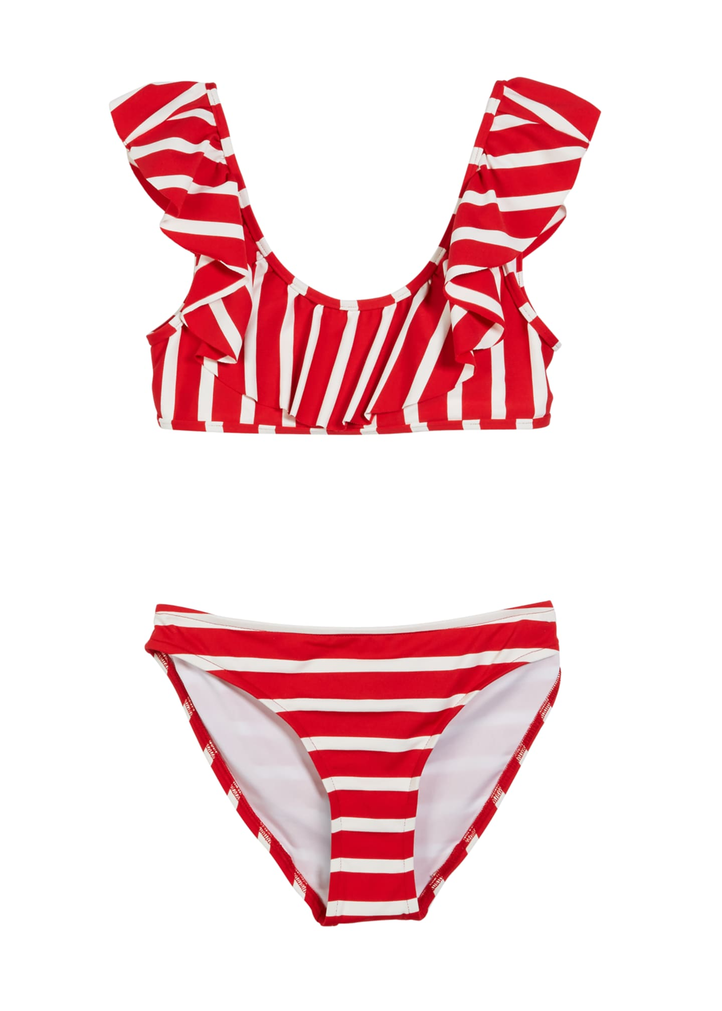 Milly Minis Striped Ruffle Pinafore Two-Piece Swimsuit, Size