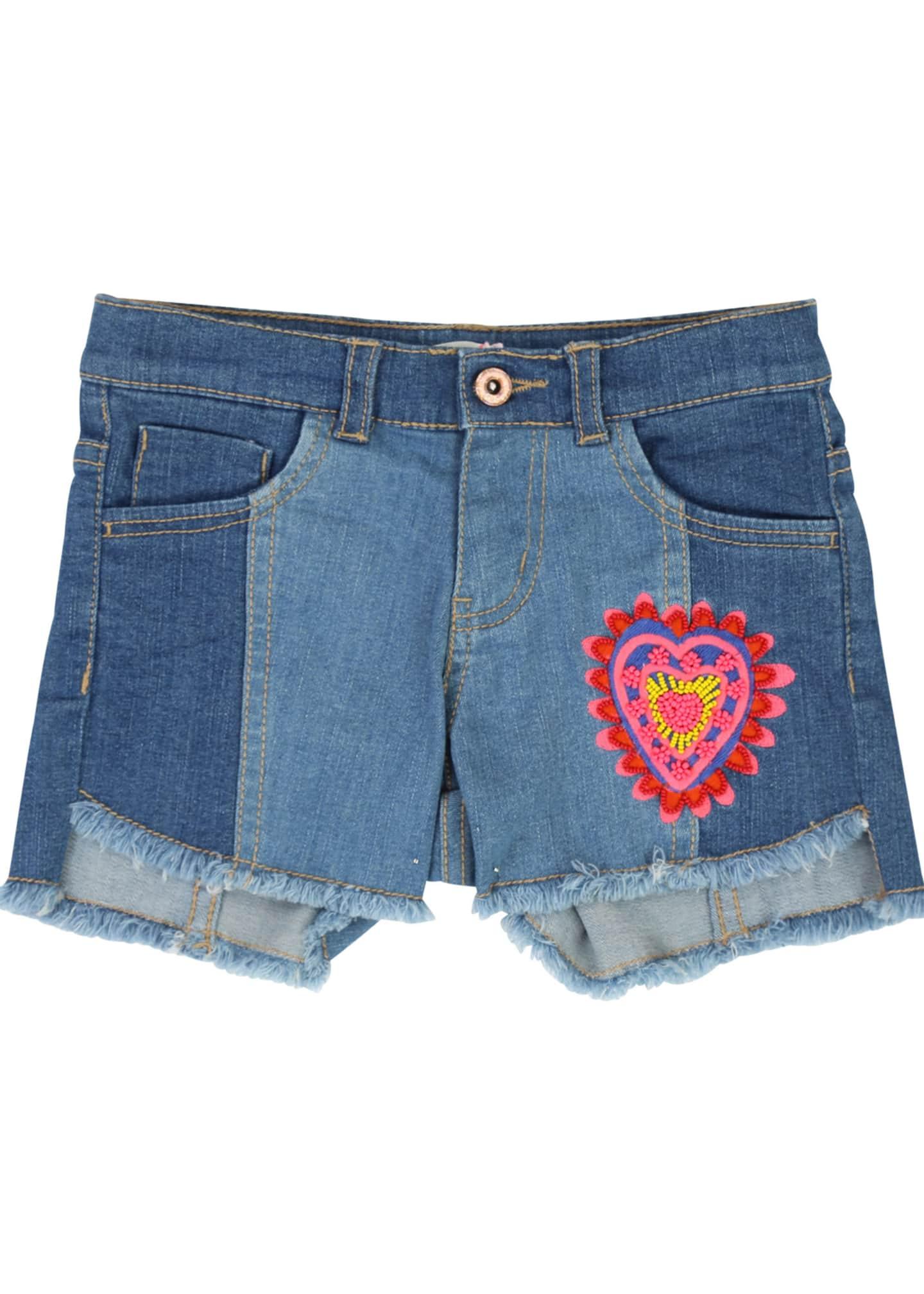 Billieblush Two-Tone Raw-Hem Denim Shorts w/ Heart Patch,
