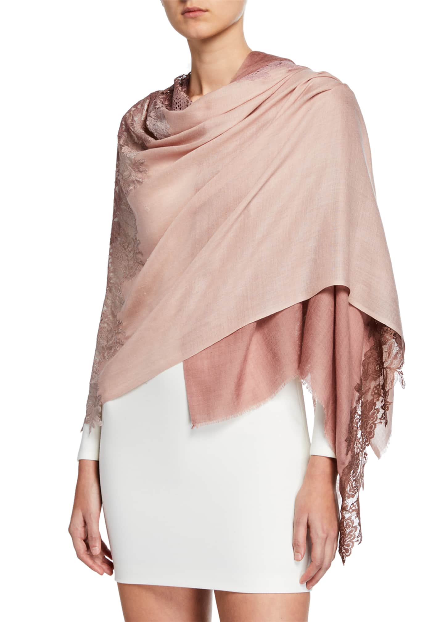 Bindya Accessories Lace-Trim Panel Stole