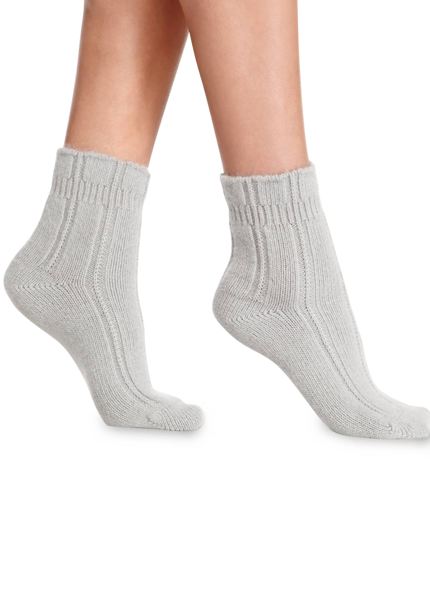 Image 1 of 1: Cashmere-Blend Cozy Ruffled Bedsocks