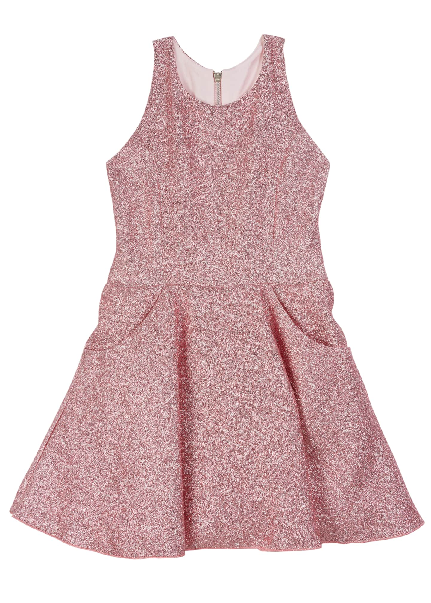 Zoe Danica Metallic Jacquard Pocket Swing Dress, Size