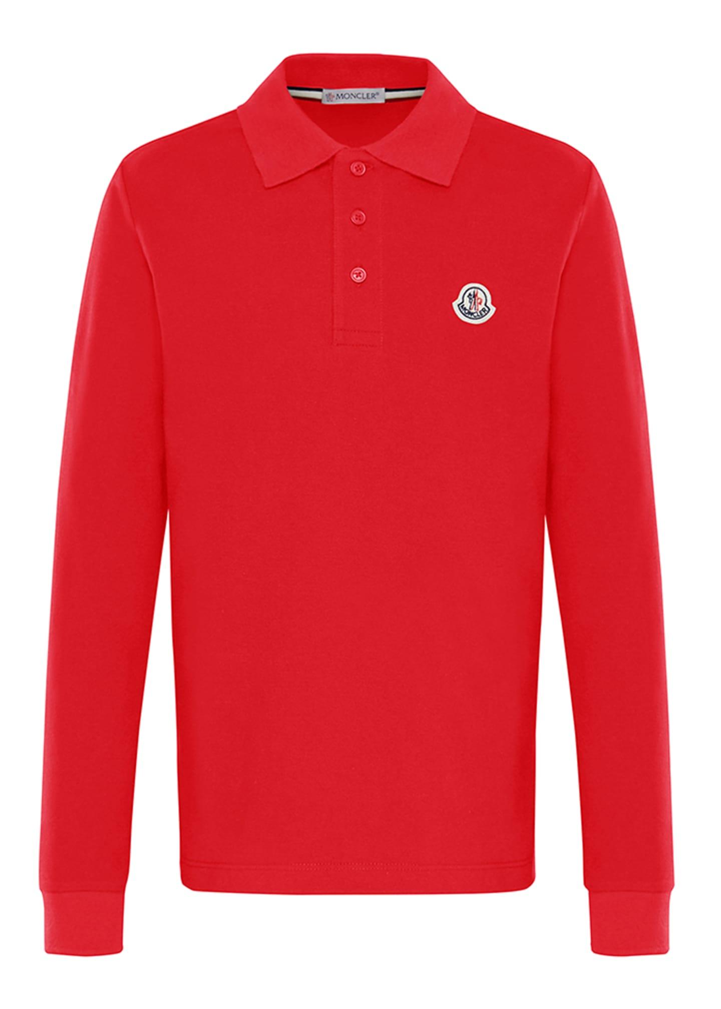 Moncler Long-Sleeve Cotton Polo Shirt, Size 4-6