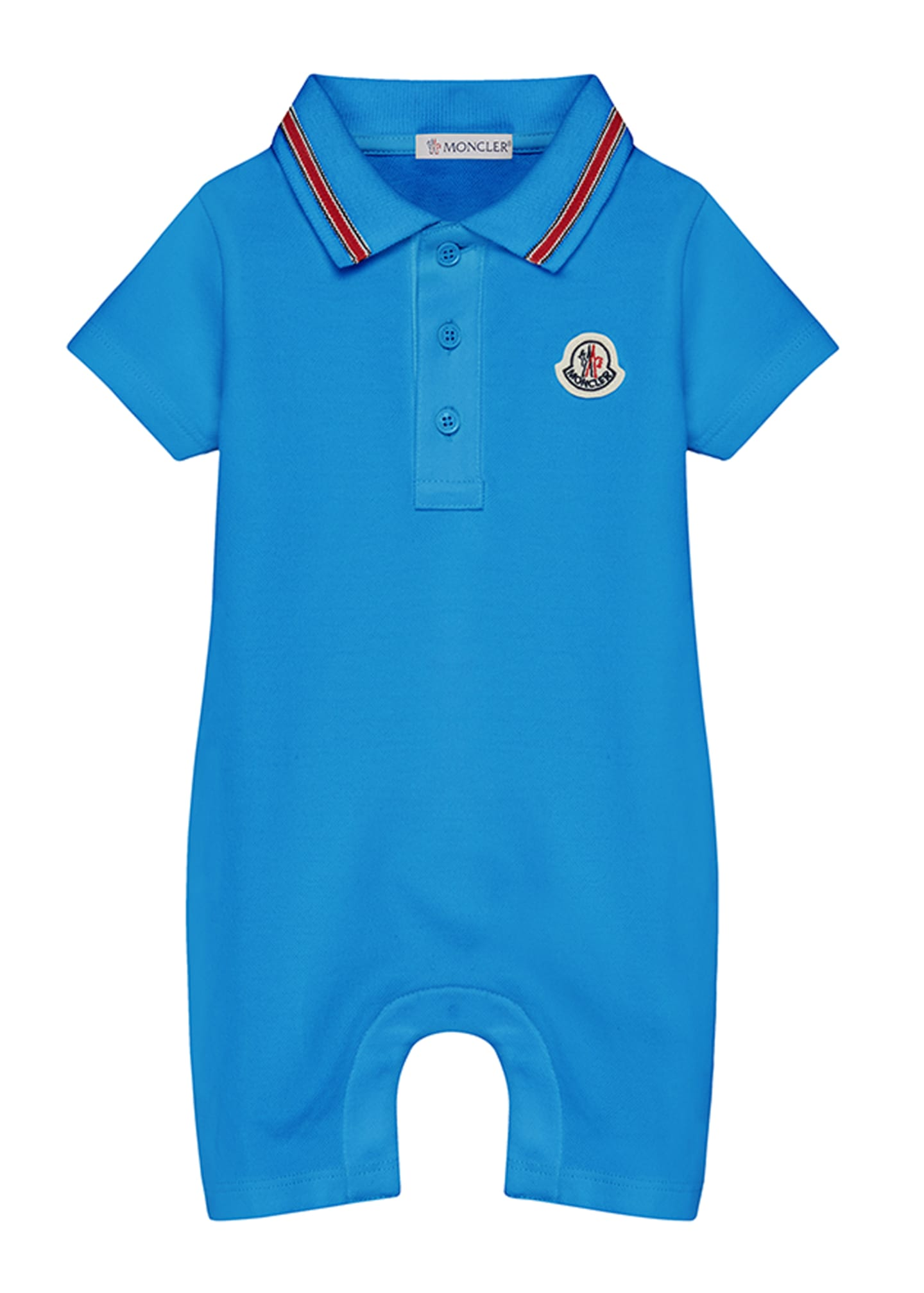 Image 1 of 1: Polo Romper w/ Striped Taping, Size 3-24 Months