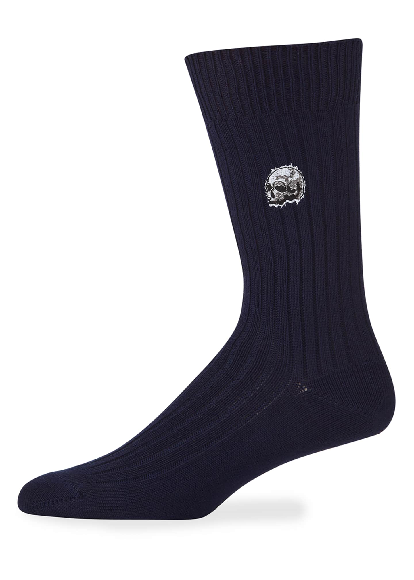 Alexander McQueen Men's Chunky-Knit Skull Cotton Socks