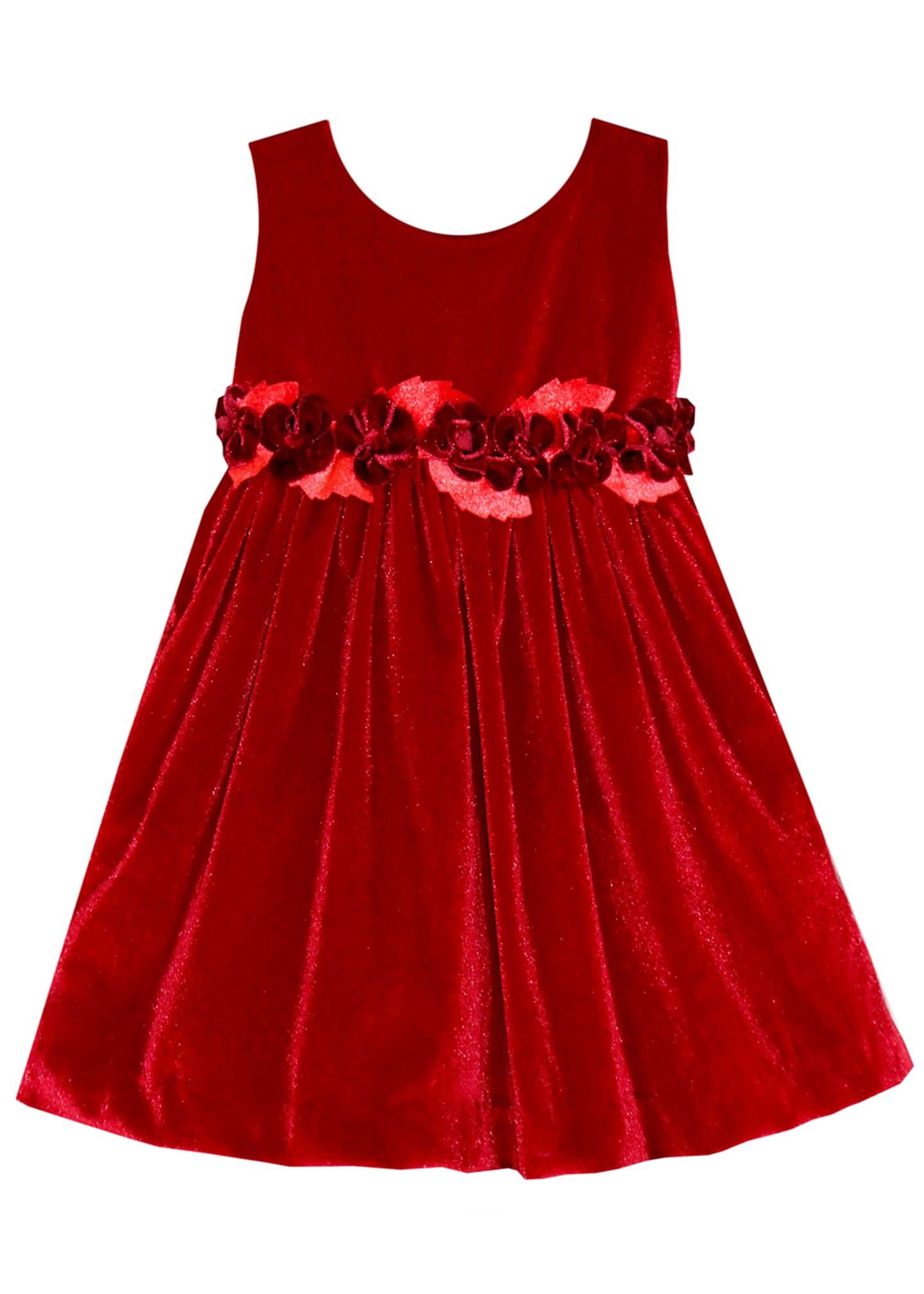 Isabel Garreton Sleeveless Velvet Holiday Dress w/ Rose