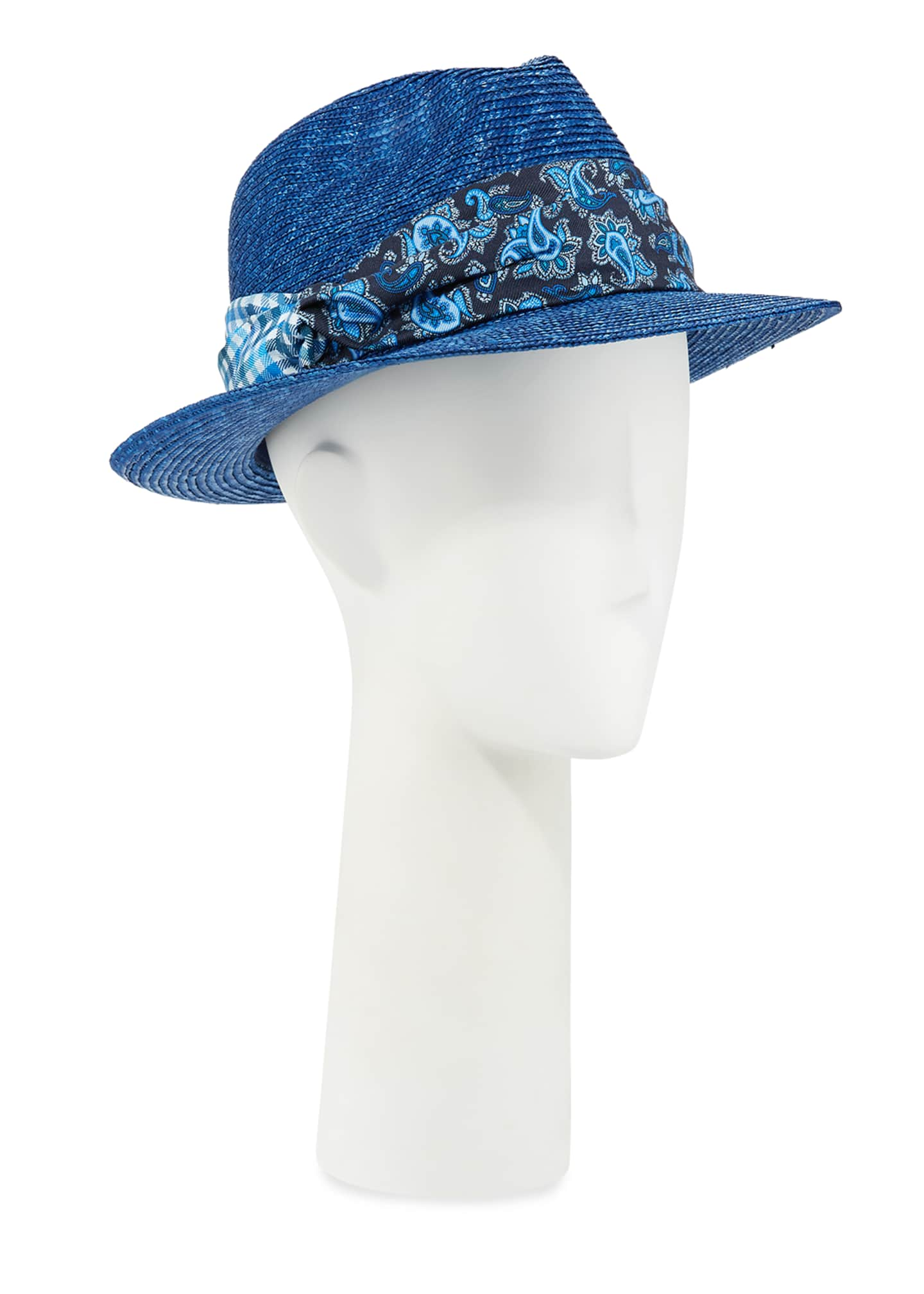 Etro Men's Straw Fedora Hat with Silk Band