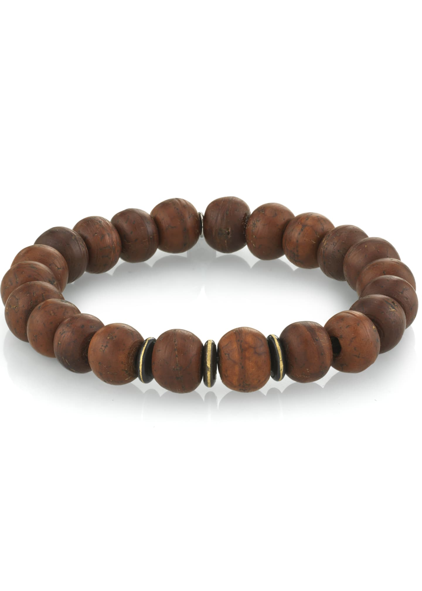 Image 1 of 1: Men's Wood Bead Bracelet w/ Spacers, Size M
