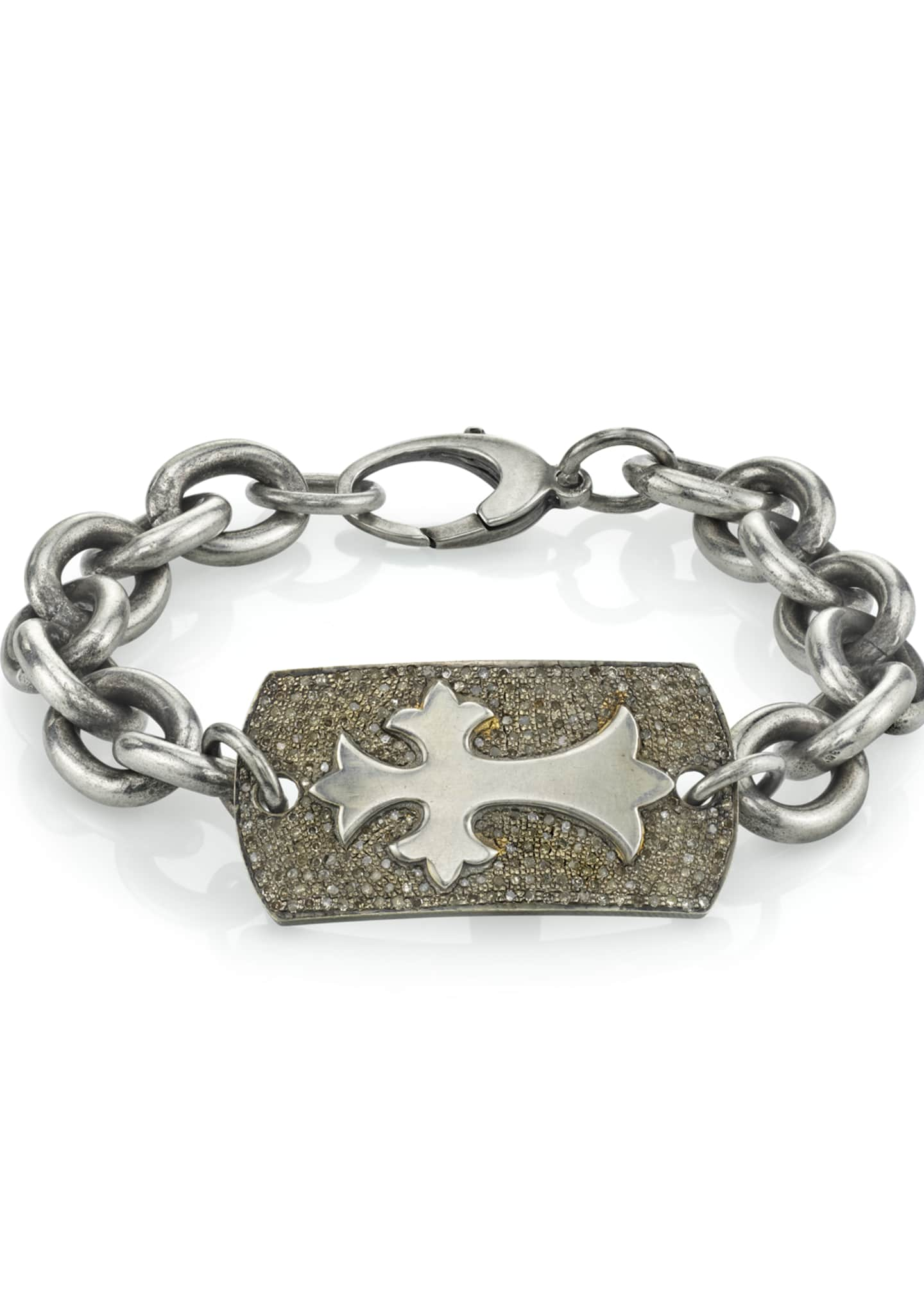 Image 1 of 1: Men's Diamond Pave Cross Bracelet, Size M
