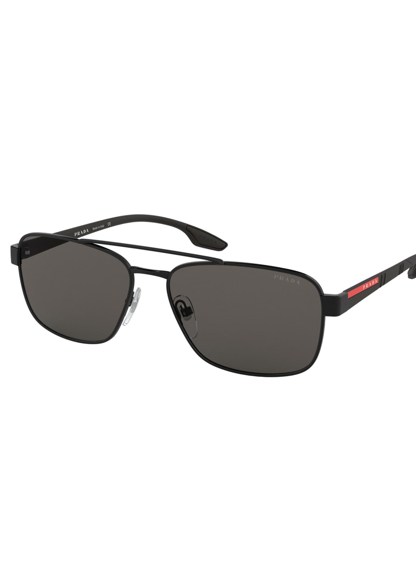 Prada Men's 59mm Square Metal Aviator Sunglasses