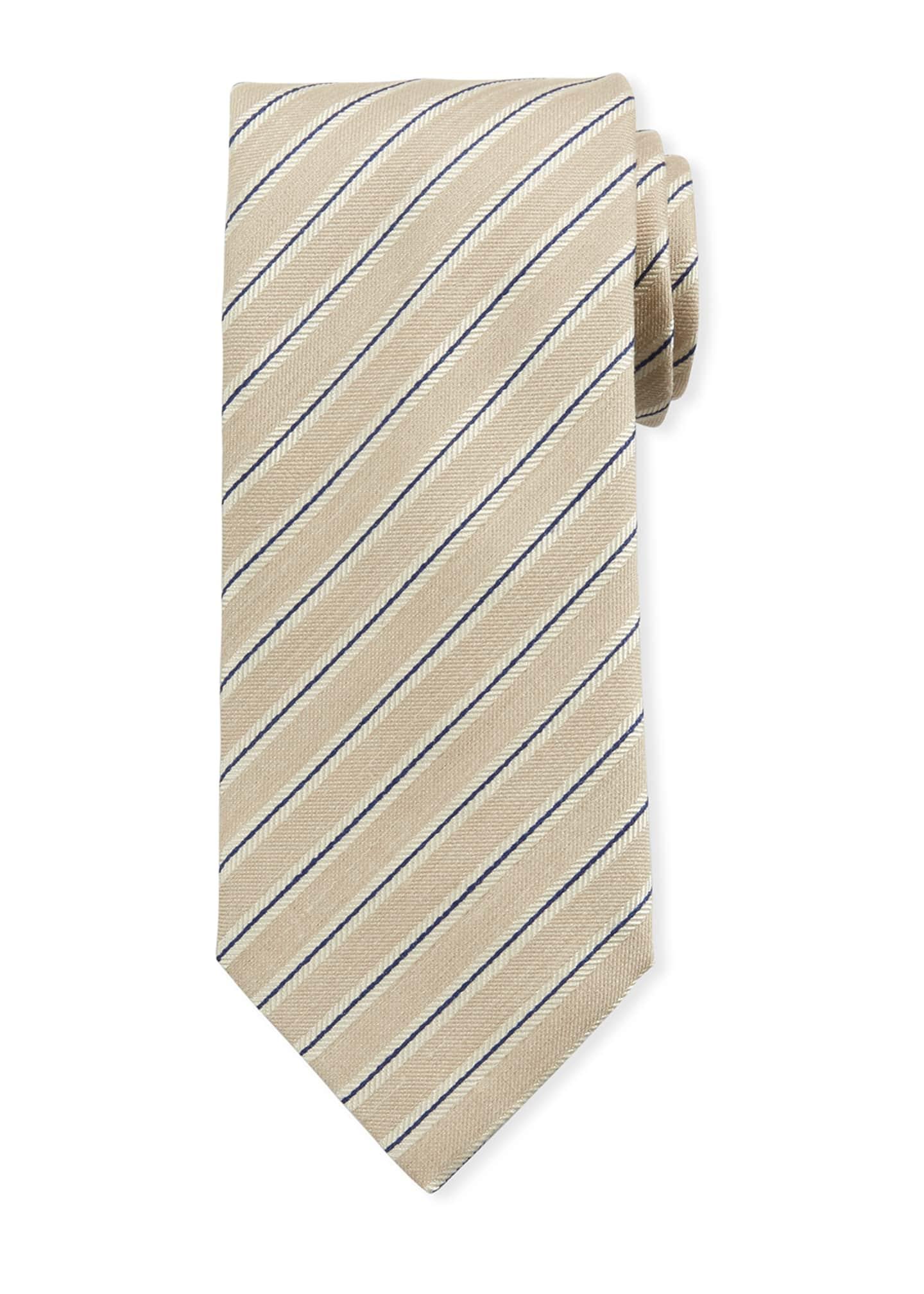 Brioni Framed Stripe/Linen Silk Tie