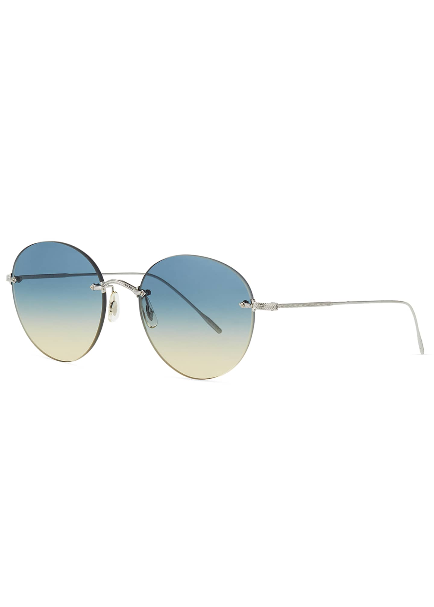 Oliver Peoples Oval Rimless Metal Engraved Sunglasses