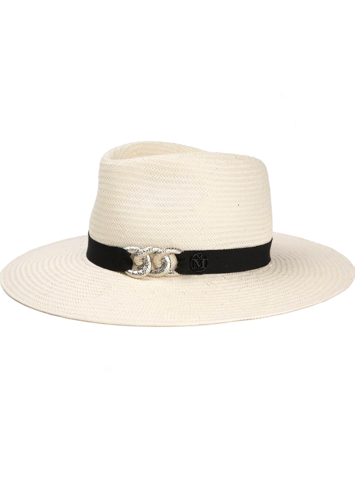 Maison Michel Charles Fedora Hat w/ Chain Detail