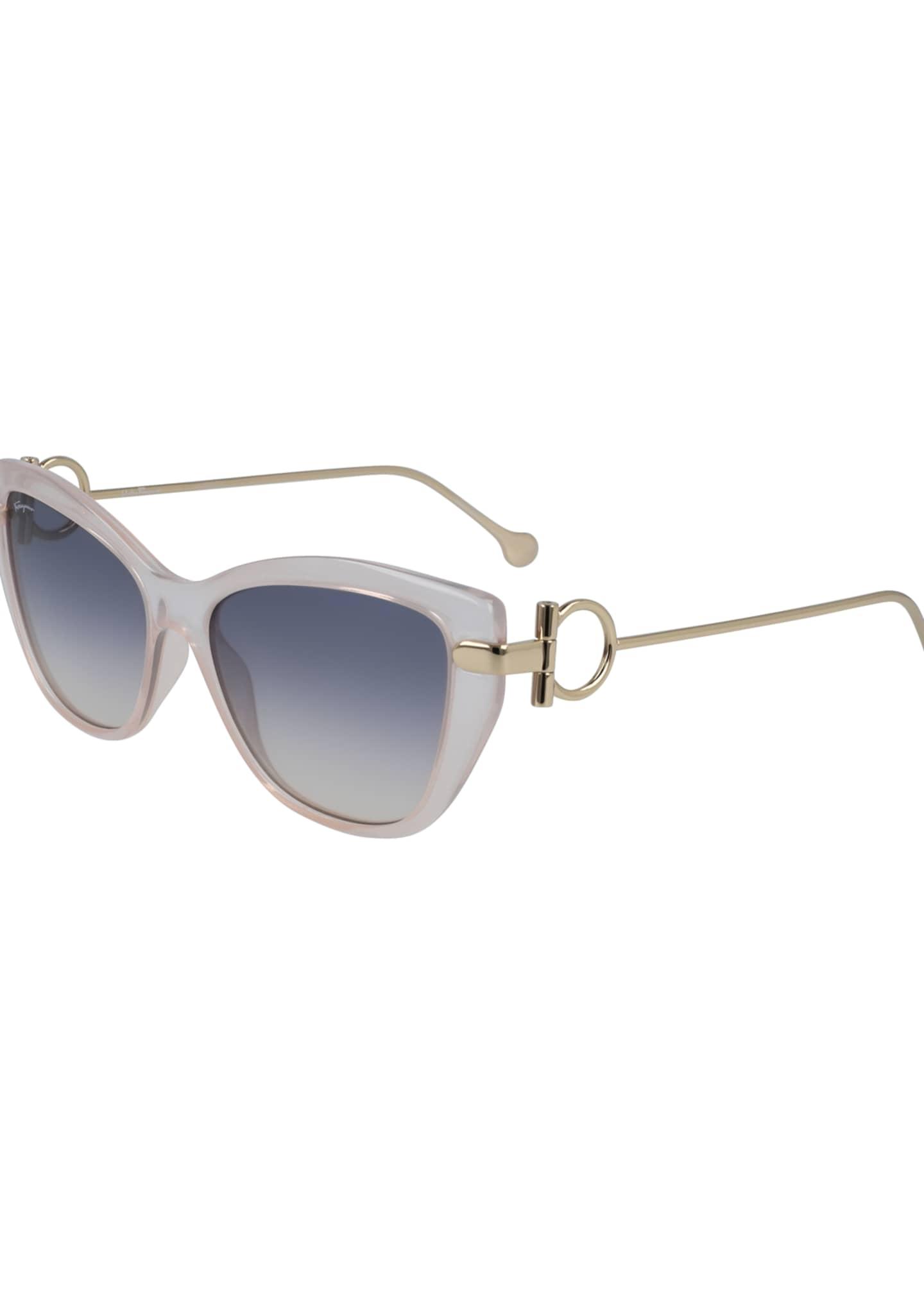Salvatore Ferragamo Gancio Cat-Eye Plastic & Metal Sunglasses