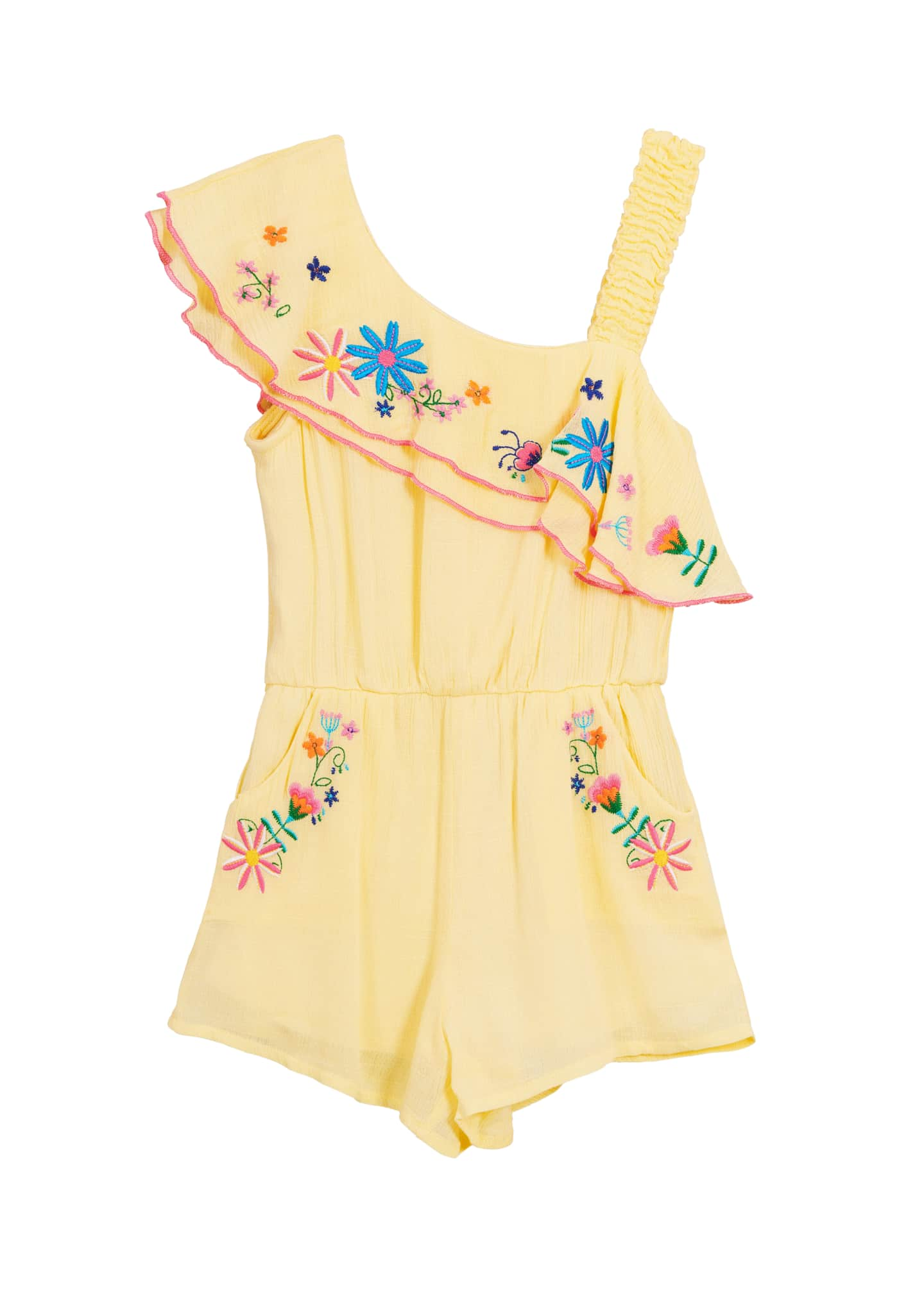 Hannah Banana Floral Embroidered Woven One-Shoulder Romper, Size