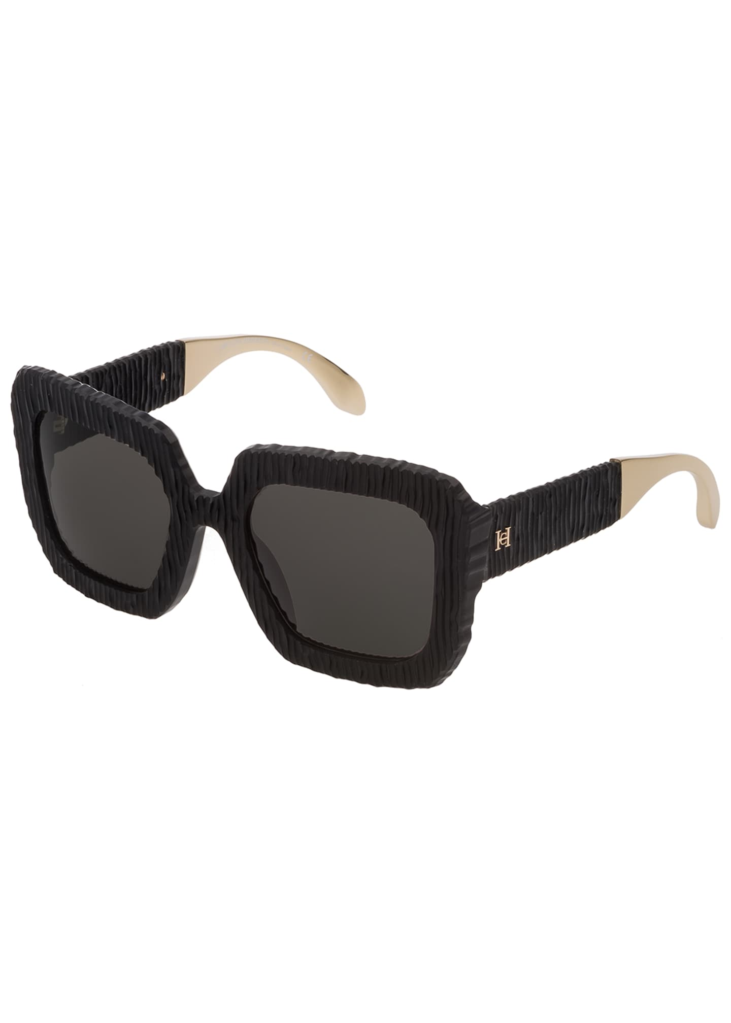 Carolina Herrera Square Textured Acetate Sunglasses