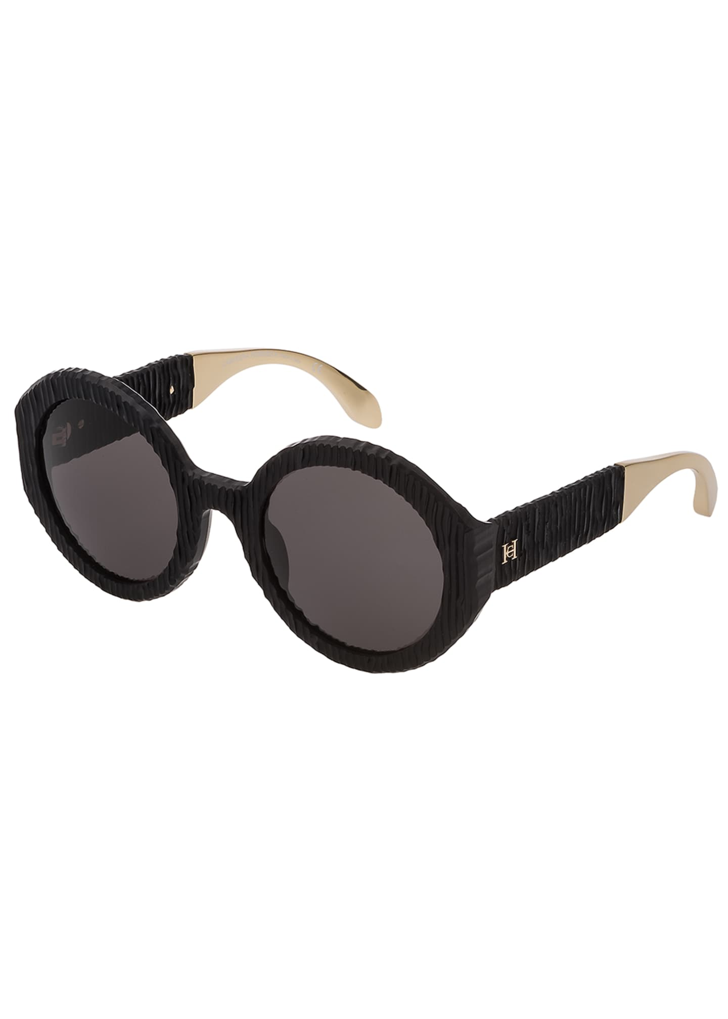 Carolina Herrera Round Textured Acetate Sunglasses