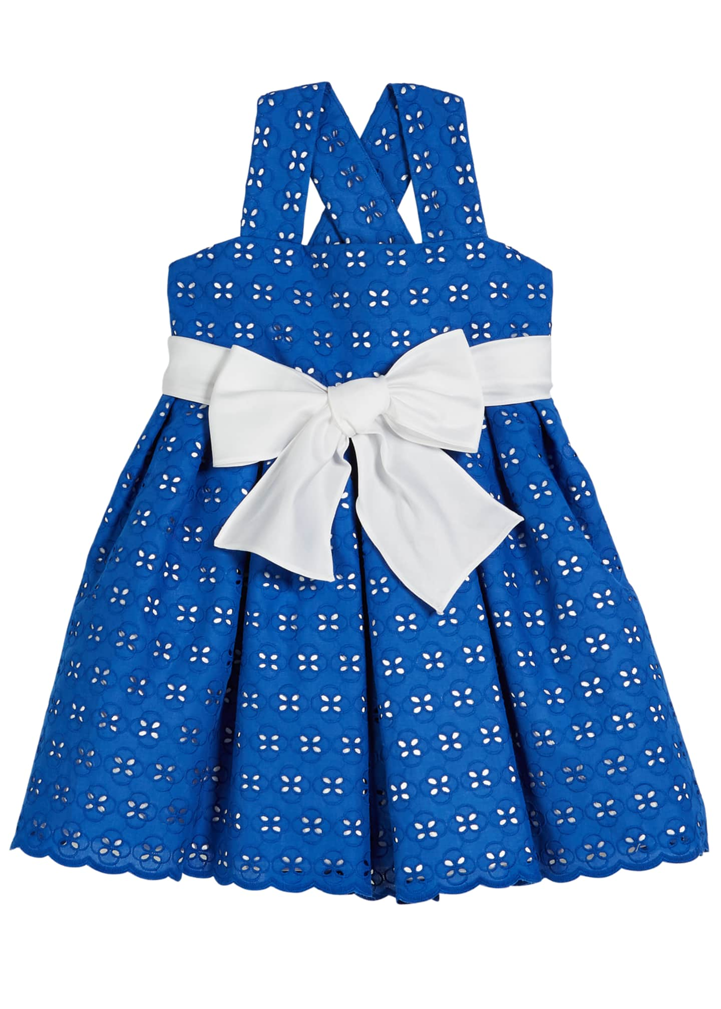 Helena Two-Tone Eyelet Sun Dress, Size 2-6