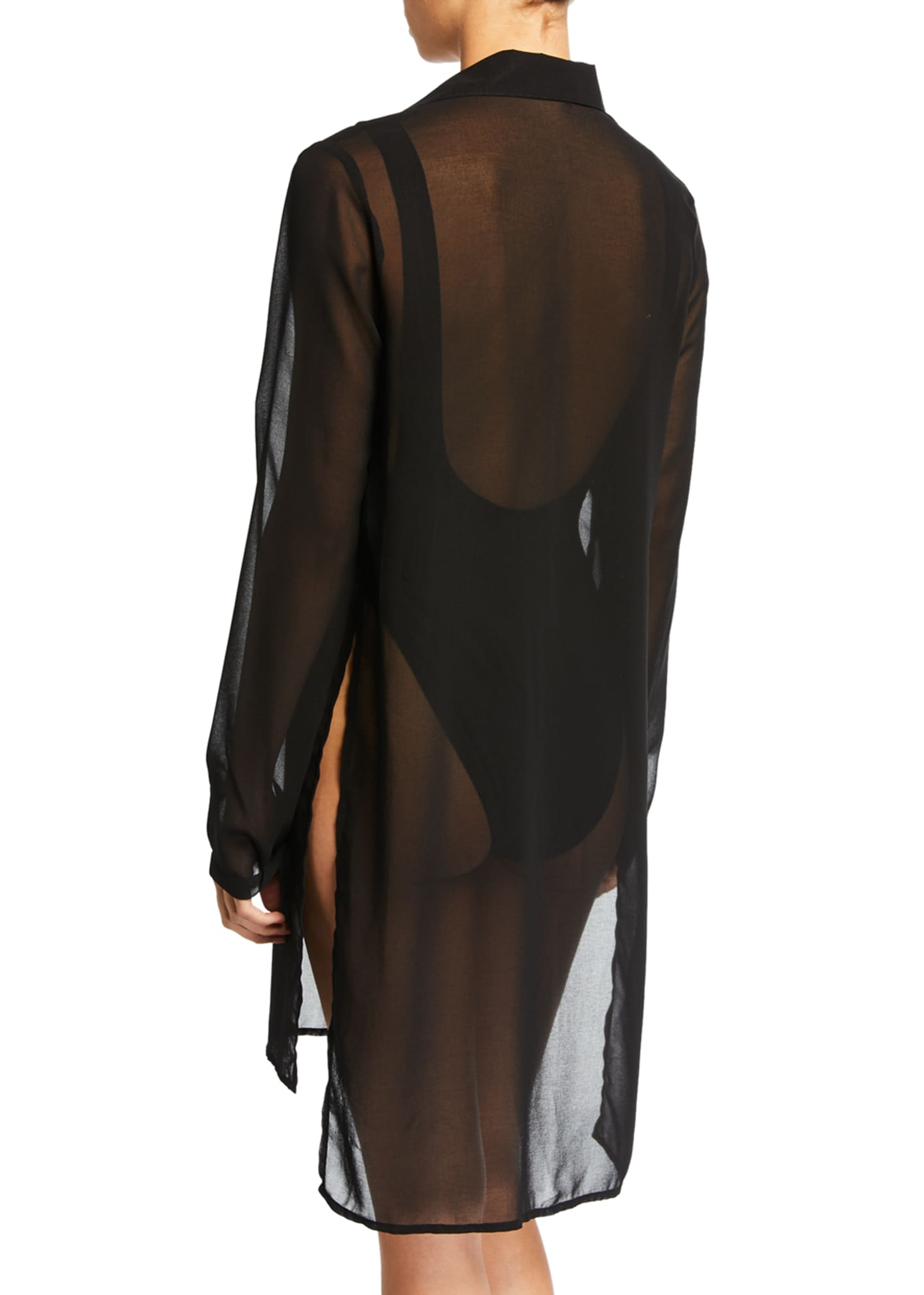 Image 2 of 2: Tropical Coast Sheer Button-Front Coverup