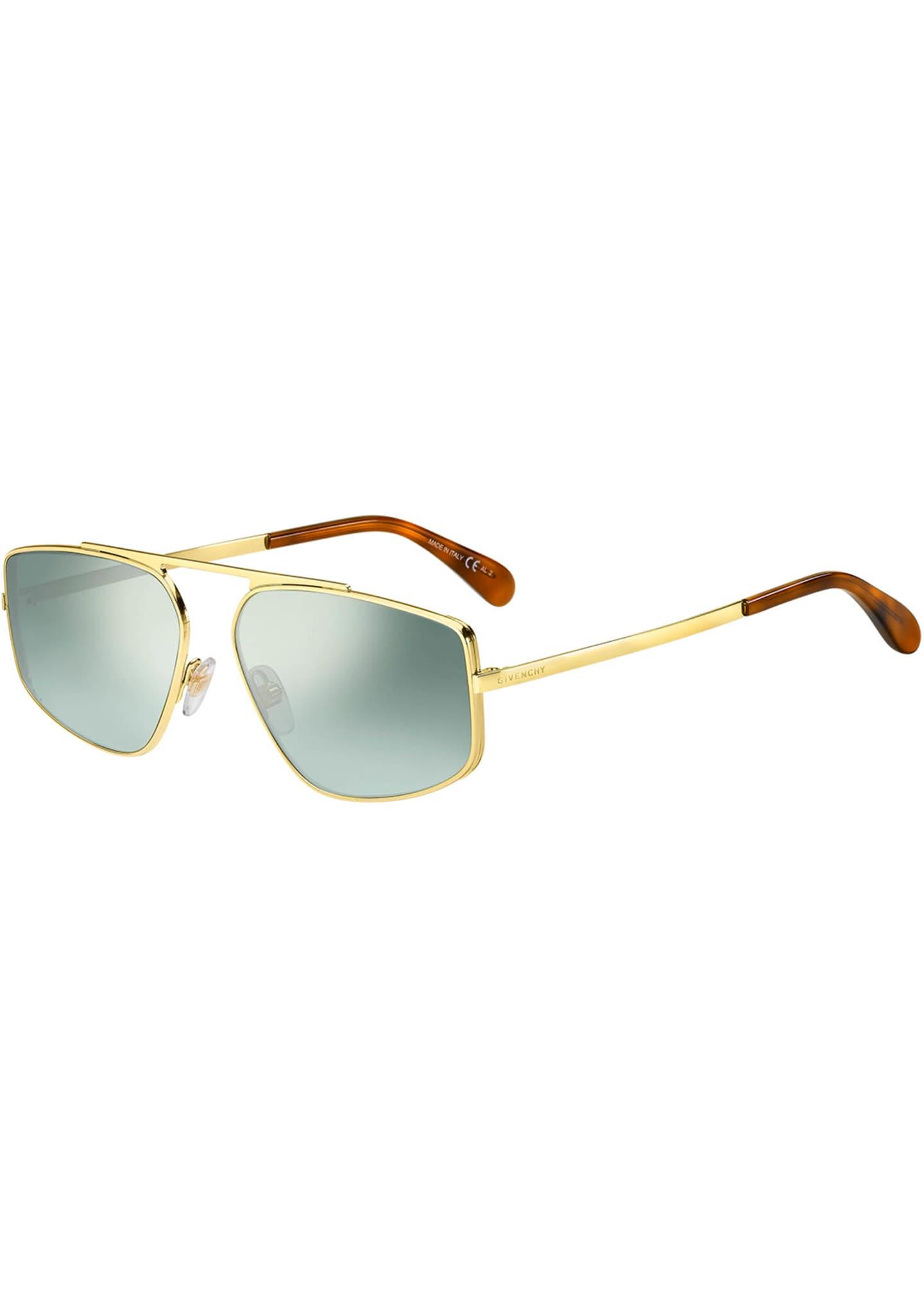 Givenchy Rectangular Mirrored-Lens Metal Sunglasses