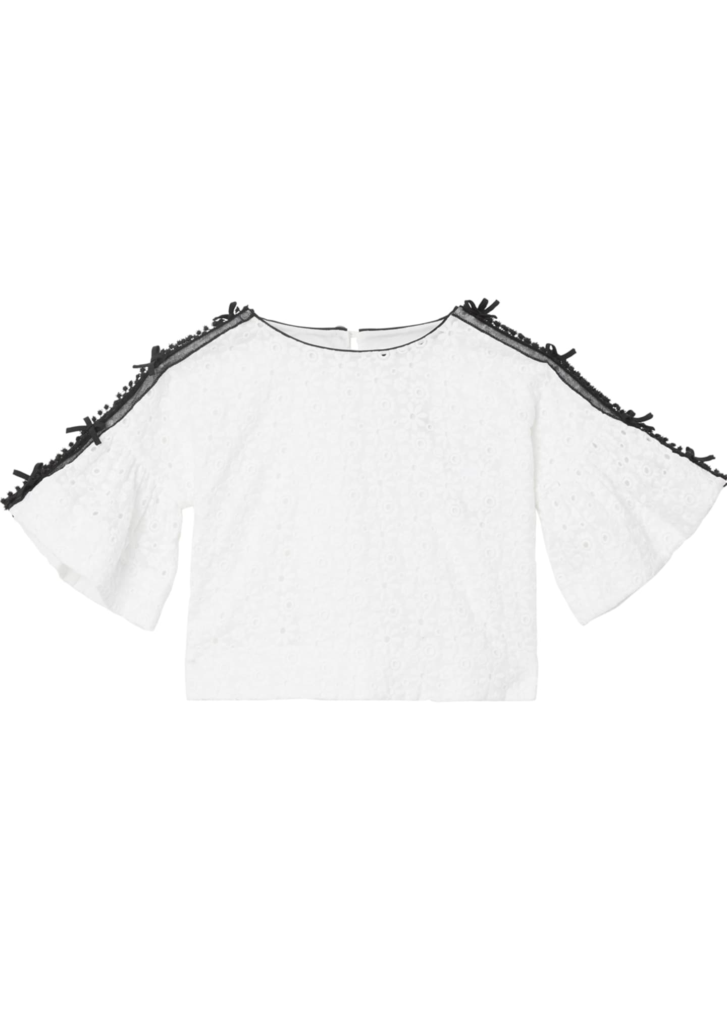 Burberry Anca Lace Embroidered Fluted Sleeve Top, Size