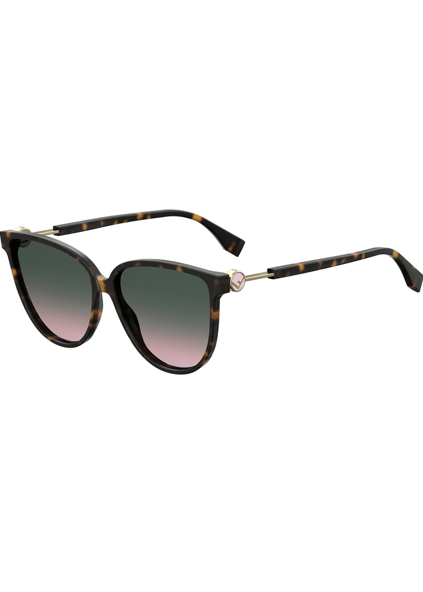 Image 1 of 1: Round Acetate & Metal Gradient Sunglasses