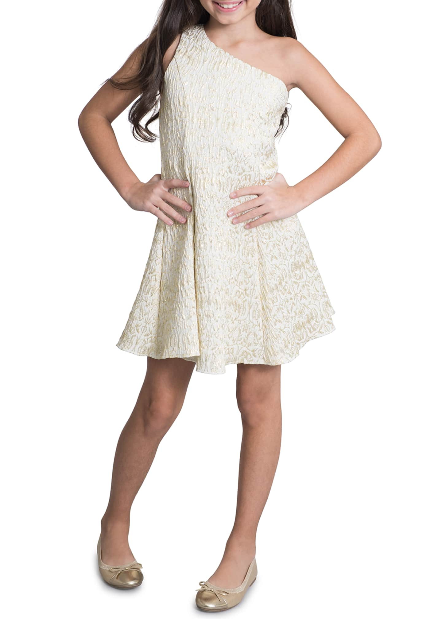 Image 3 of 3: Megan Metallic Jacquard Fit-and-Flare Dress, Size 7-16