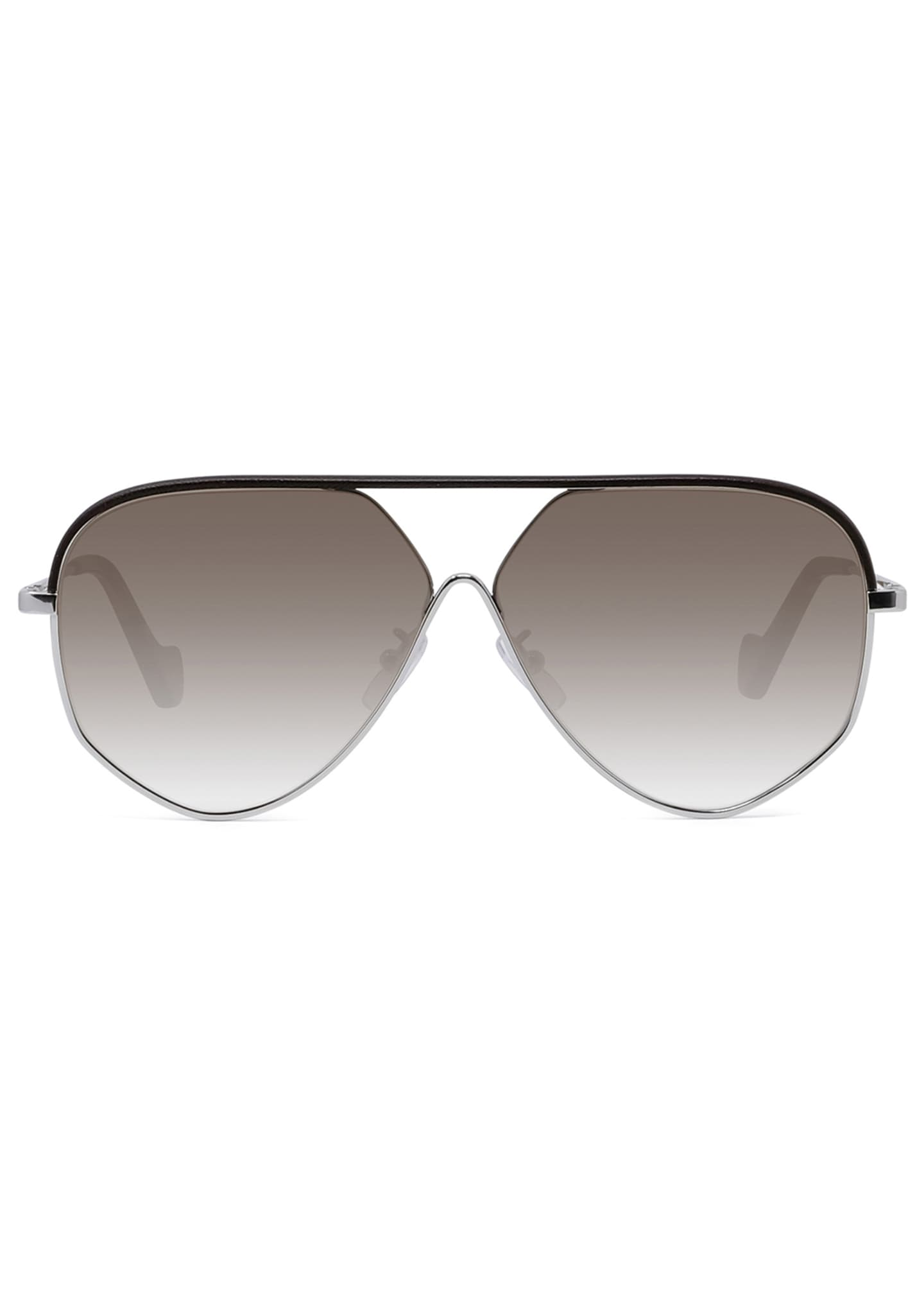 Image 2 of 4: Metal Aviator Sunglasses w/ Leather Brow