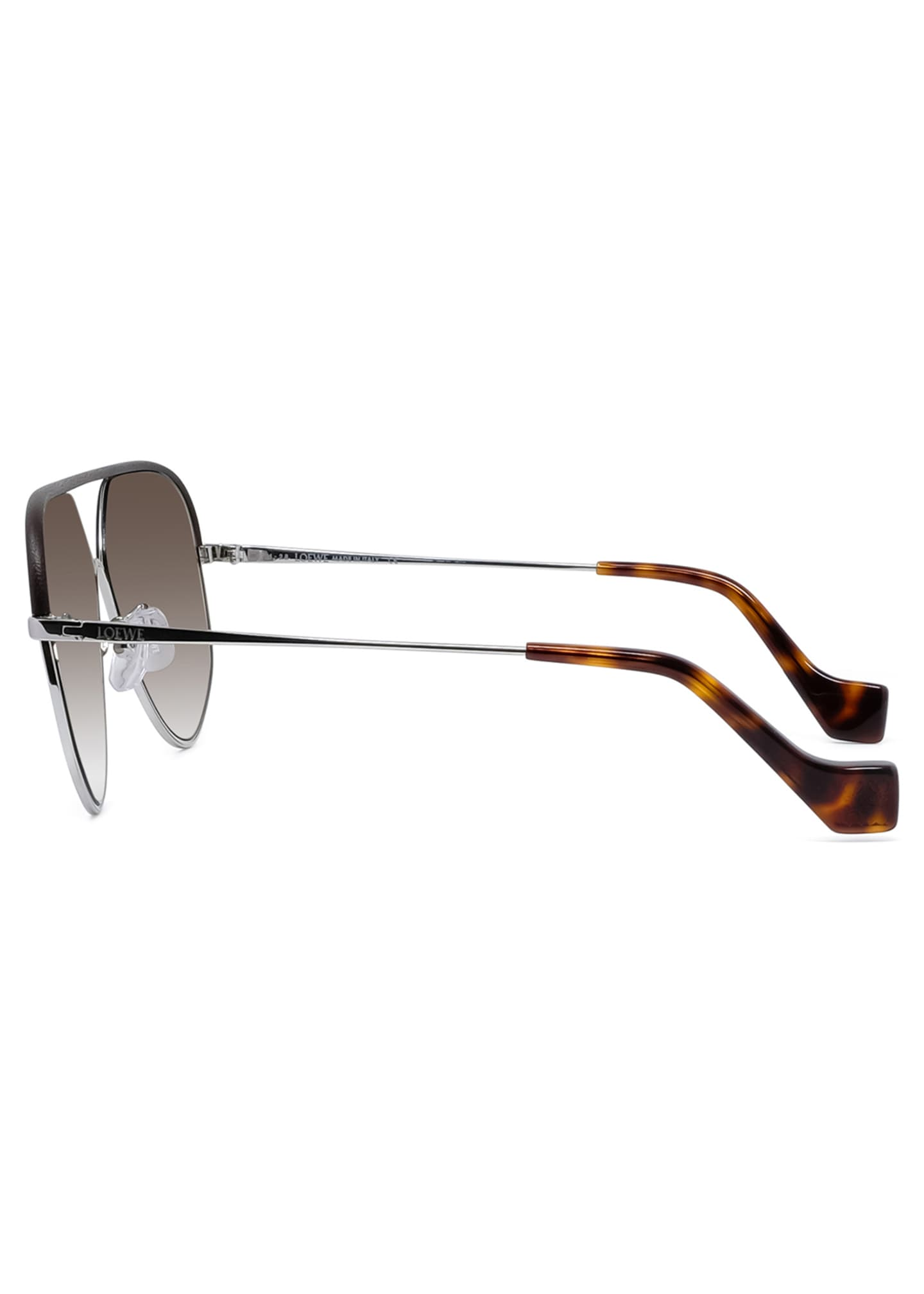 Image 3 of 4: Metal Aviator Sunglasses w/ Leather Brow