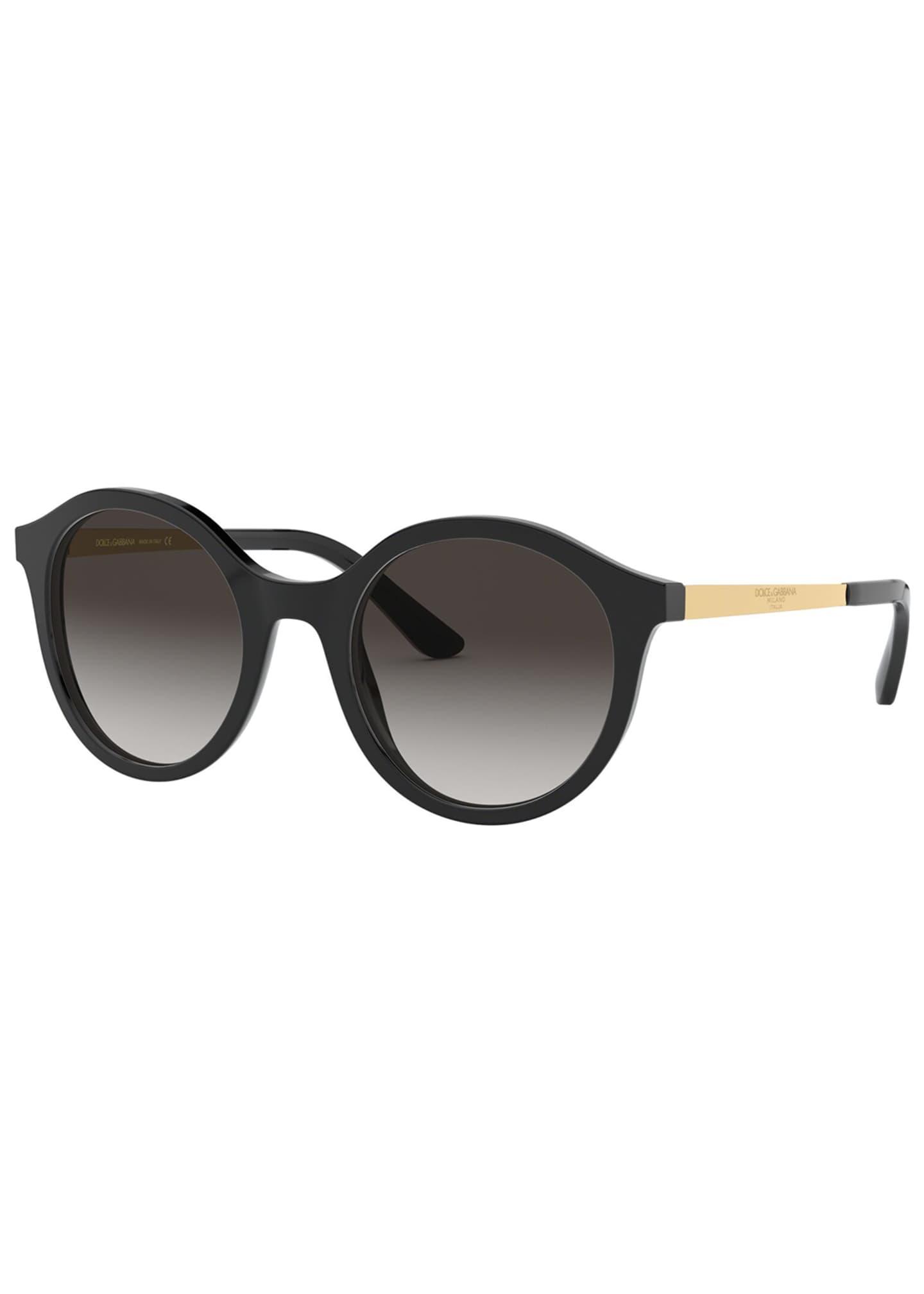 Dolce & Gabbana Metal & Acetate Round Sunglasses