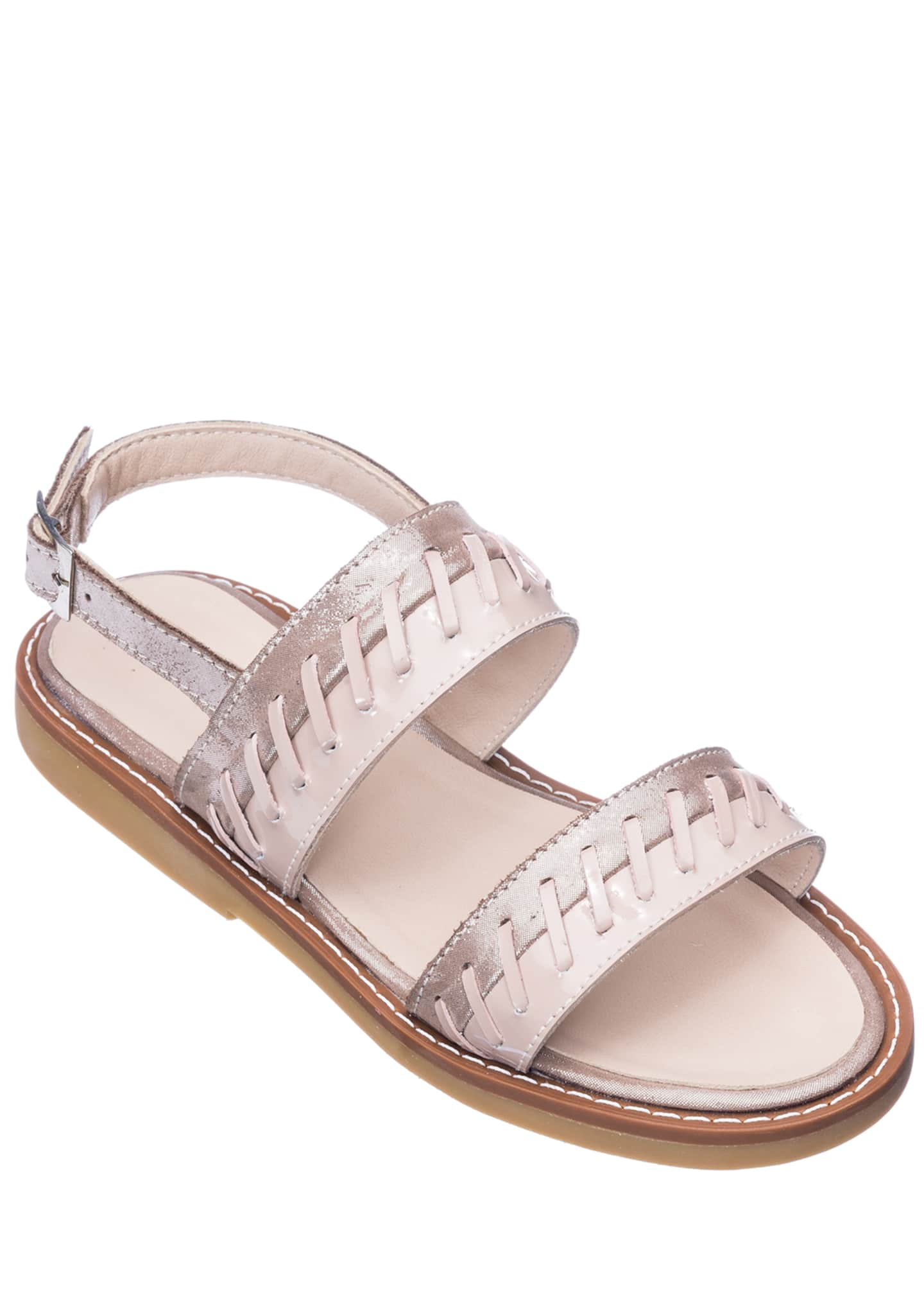 Elephantito Girls' Larissa Stitched Leather Sandals, Toddler/Kids