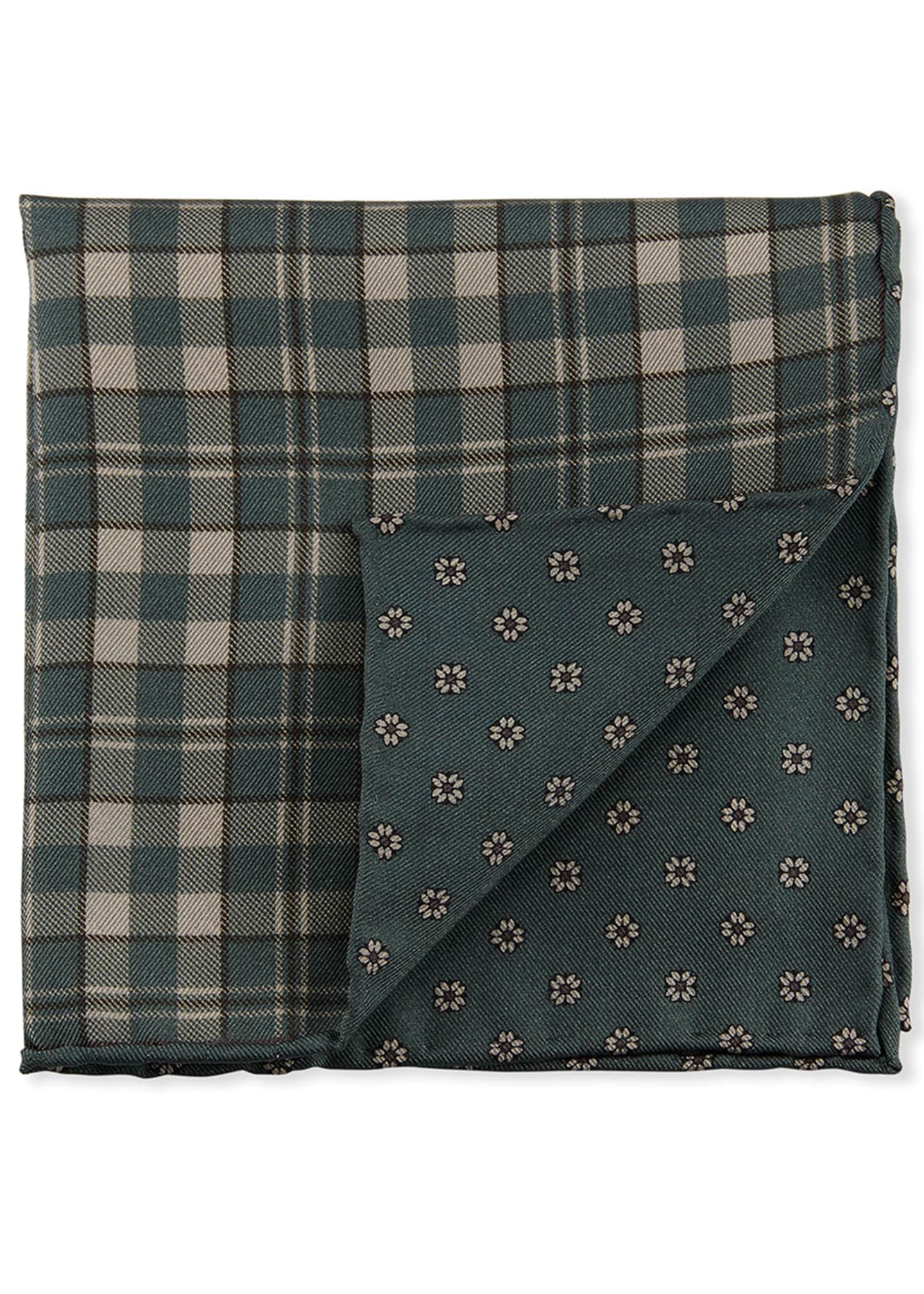 Image 2 of 2: Reversible Plaid/Small-Flower Pocket Square