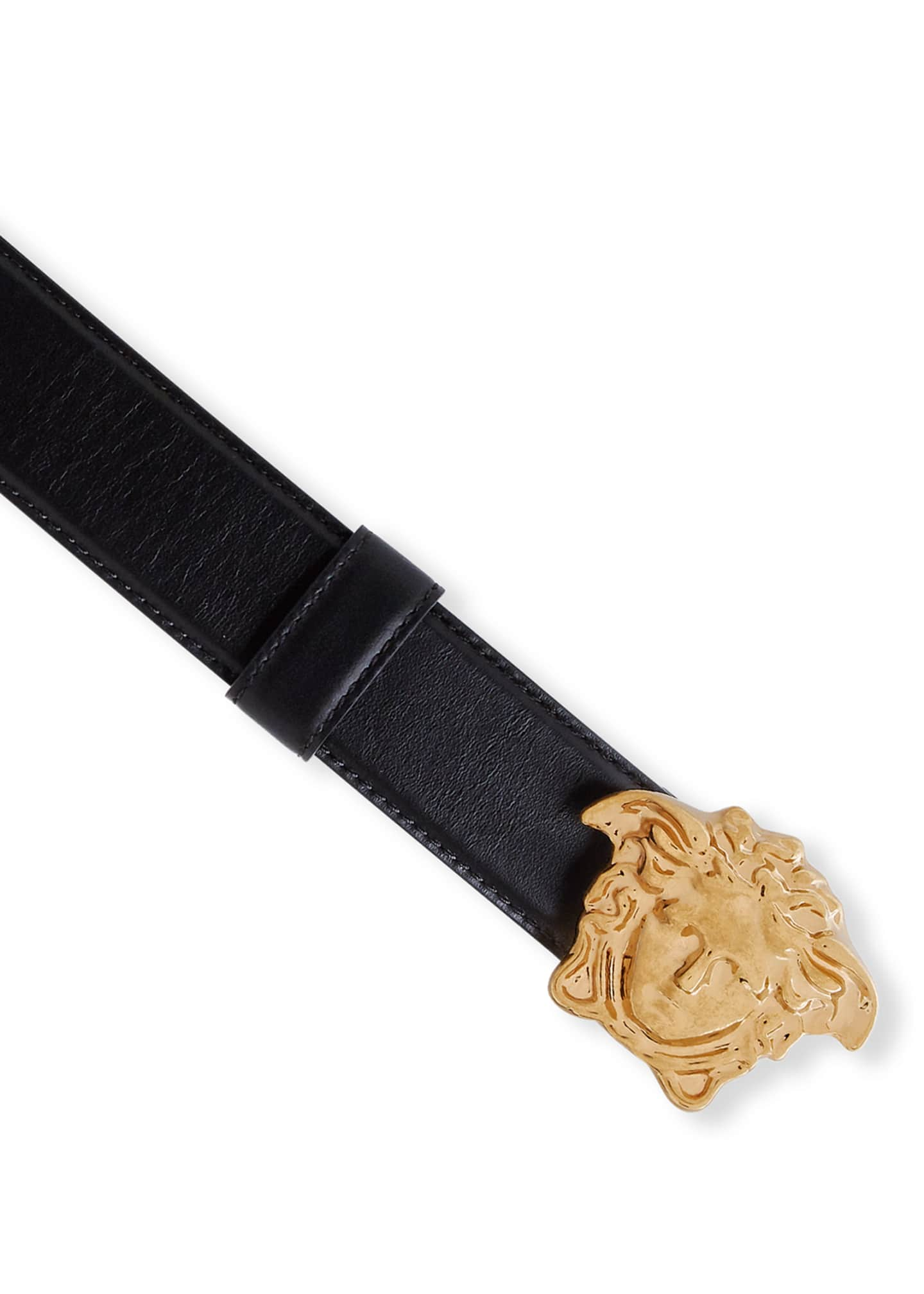 Image 2 of 3: Leather Belt w/ Medusa Buckle