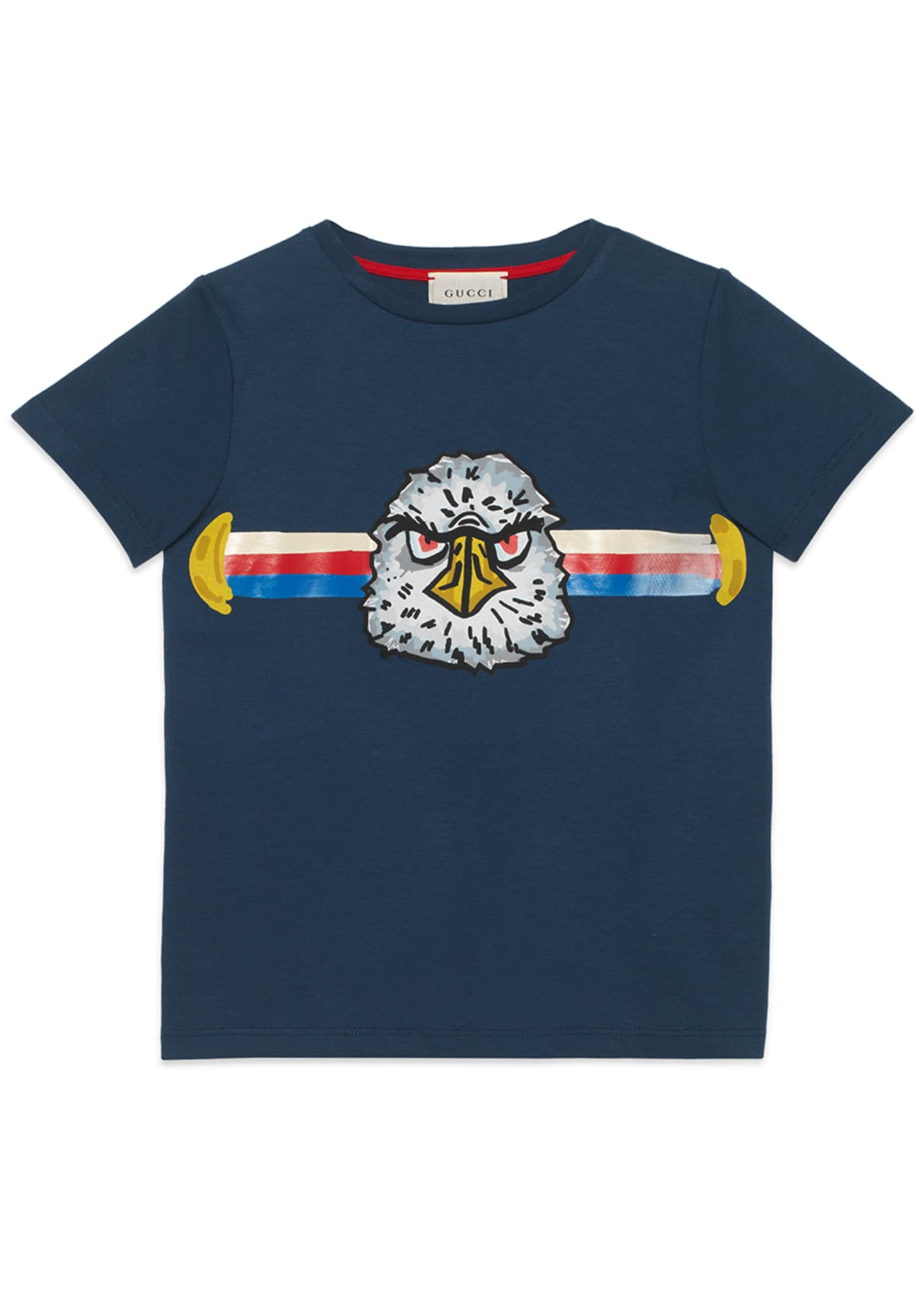 Gucci Bird & Logo Short-Sleeve Tee, Size 4-12